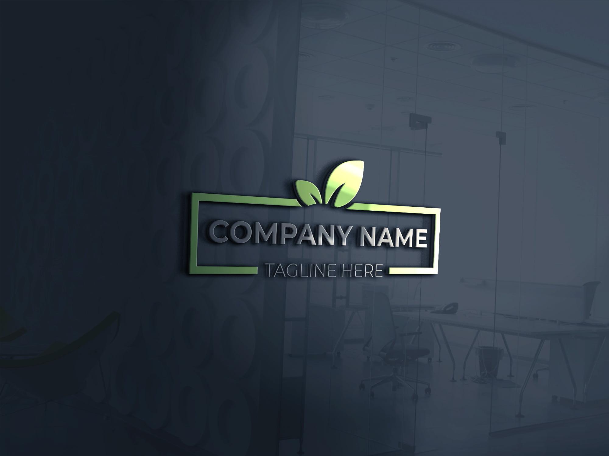 3d green logo design template