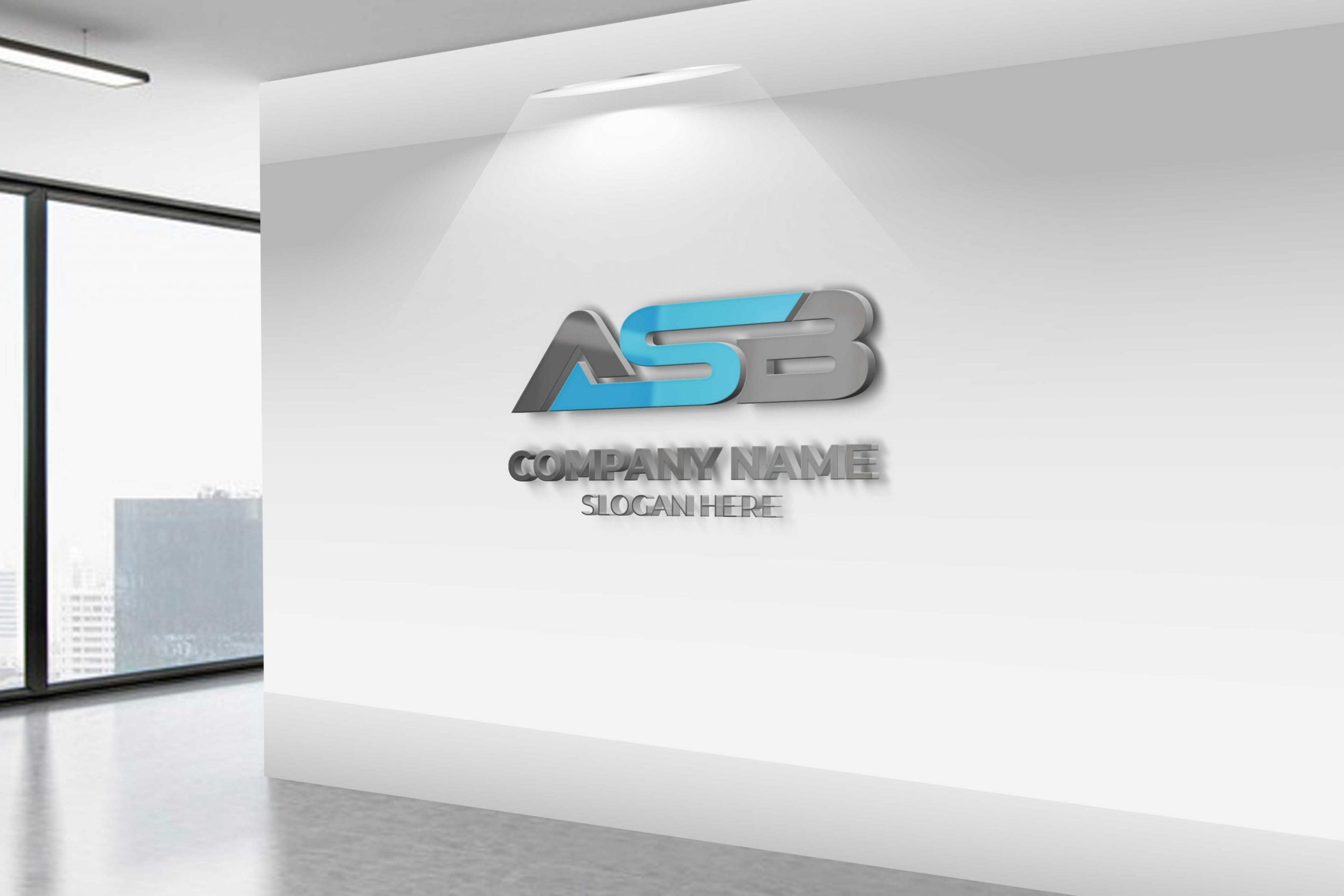 ASB LETTER LOGO DESIGN ON OFFICE WALL