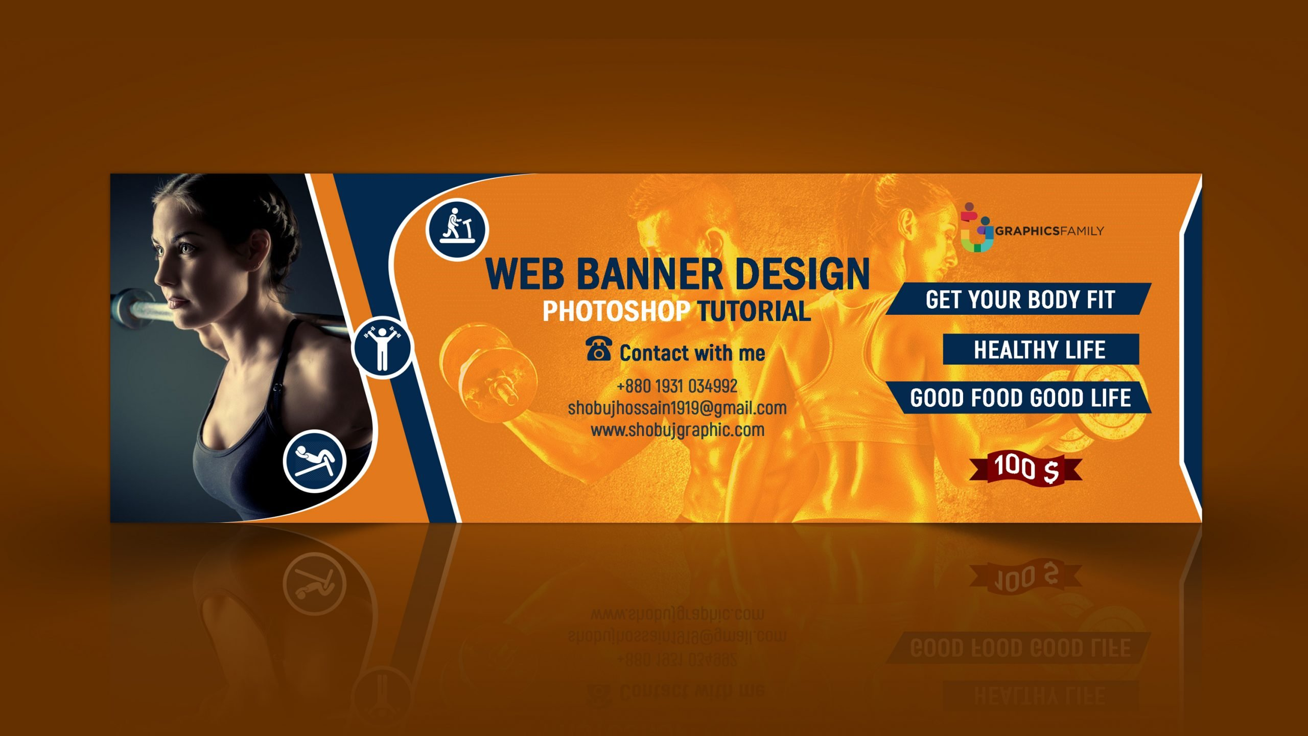 Fitness Web Banner Free PSD Download
