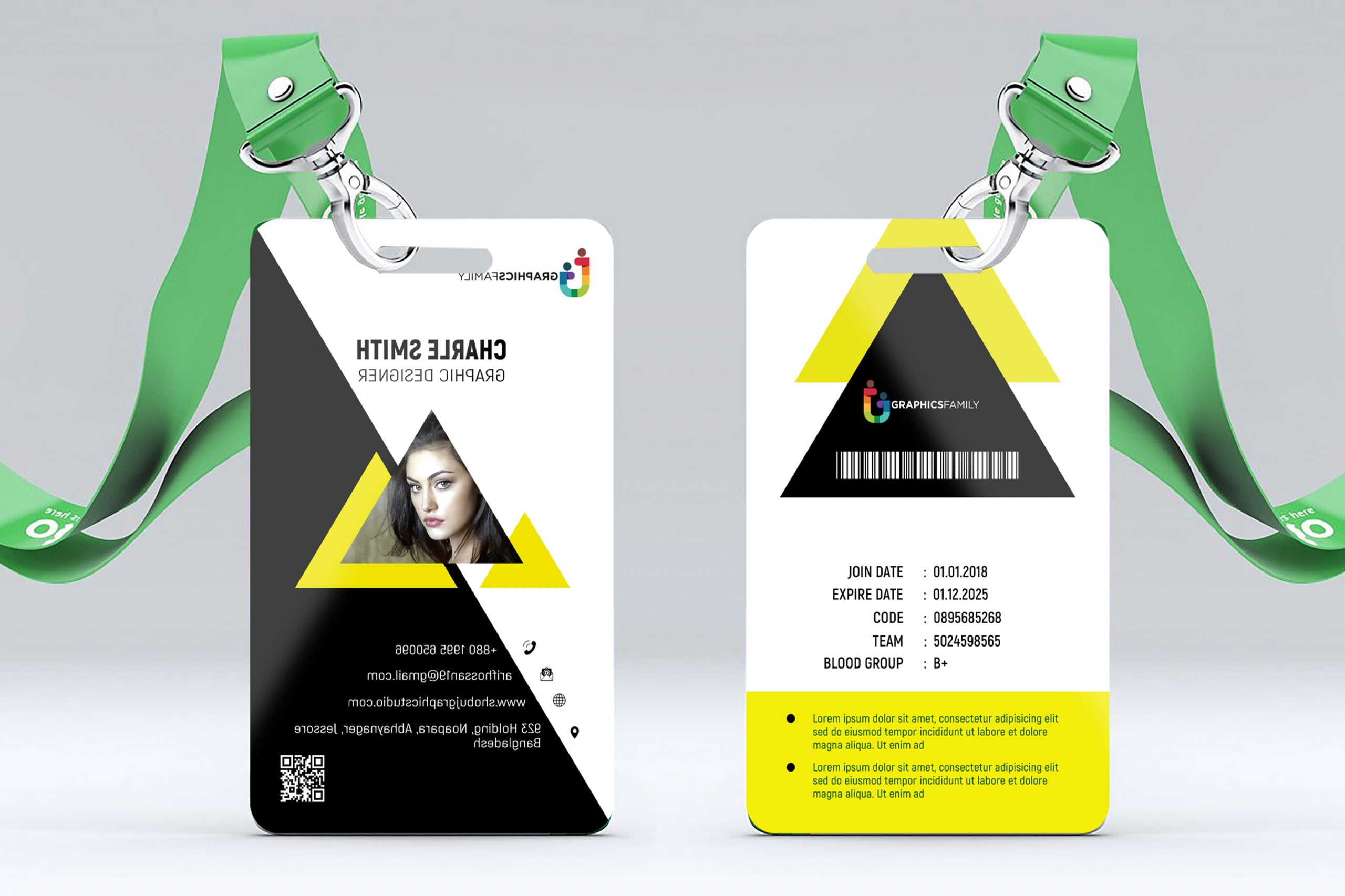 Id card front and back presentation
