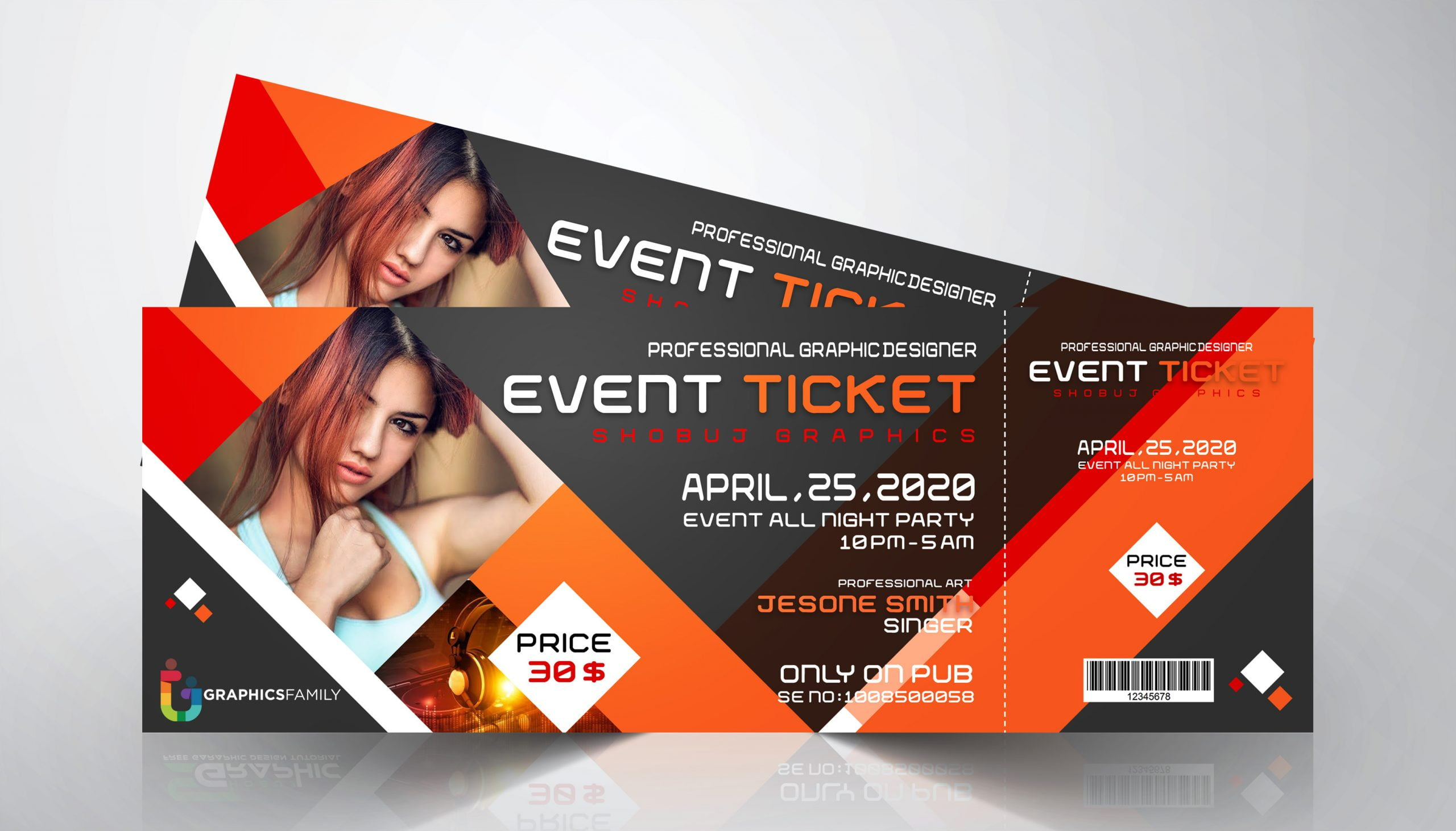 Night Club Event Ticket Design Free Psd Graphicsfamily