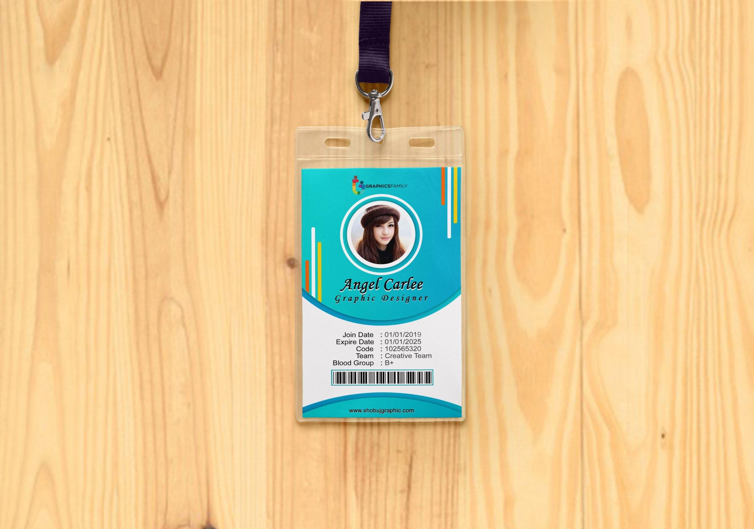 Office Id-Card on wood mockup