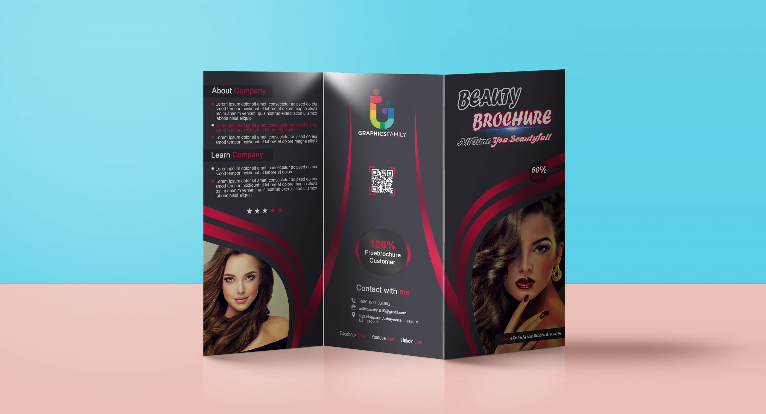 Trifold Brochure for Beauty parlour