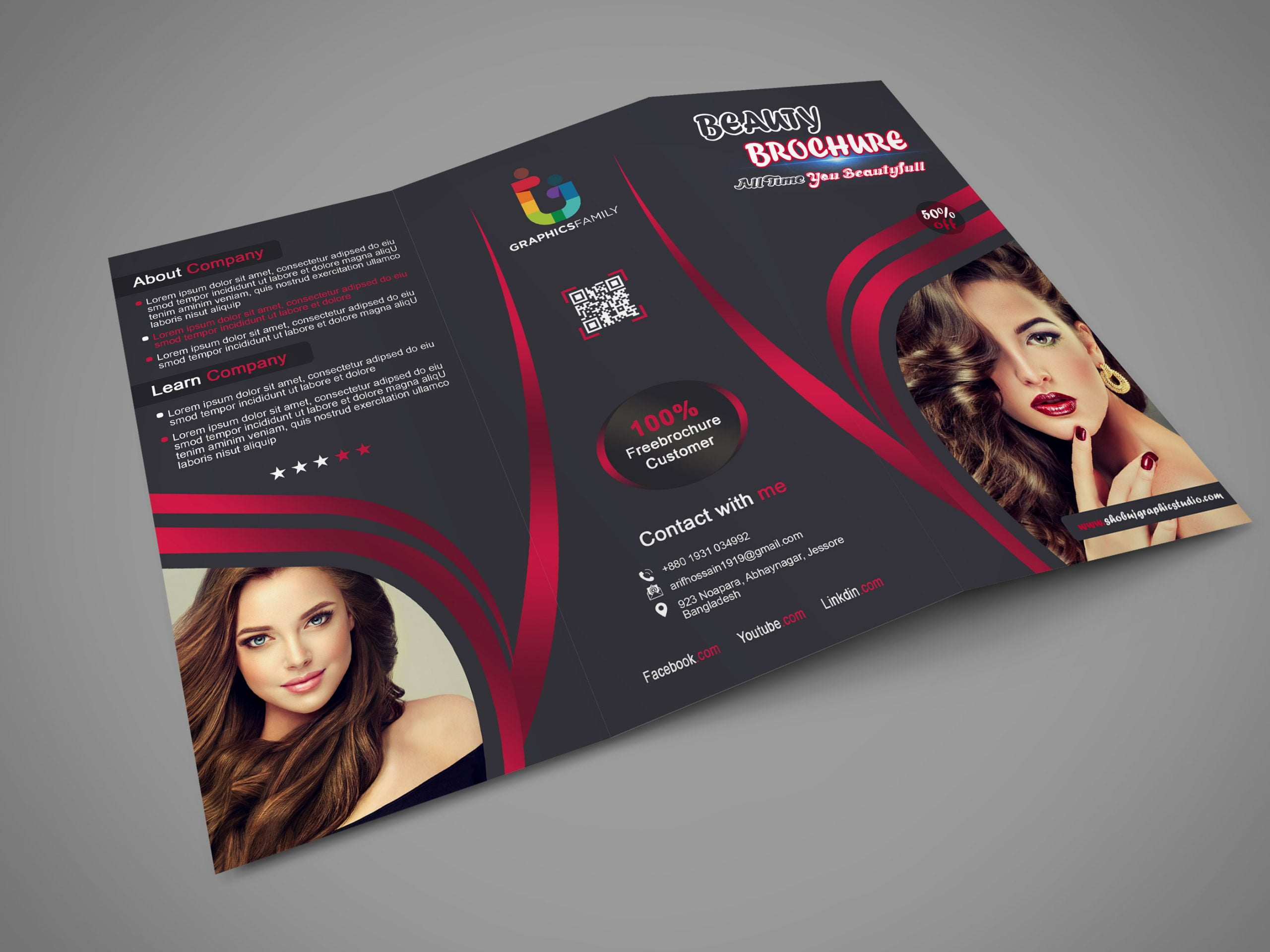 Trifold brochure design for beauty tips