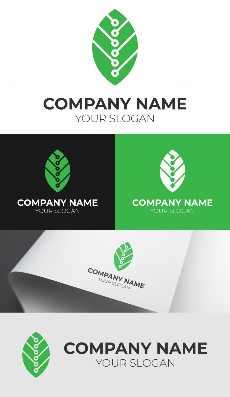 green tech logo design template free download