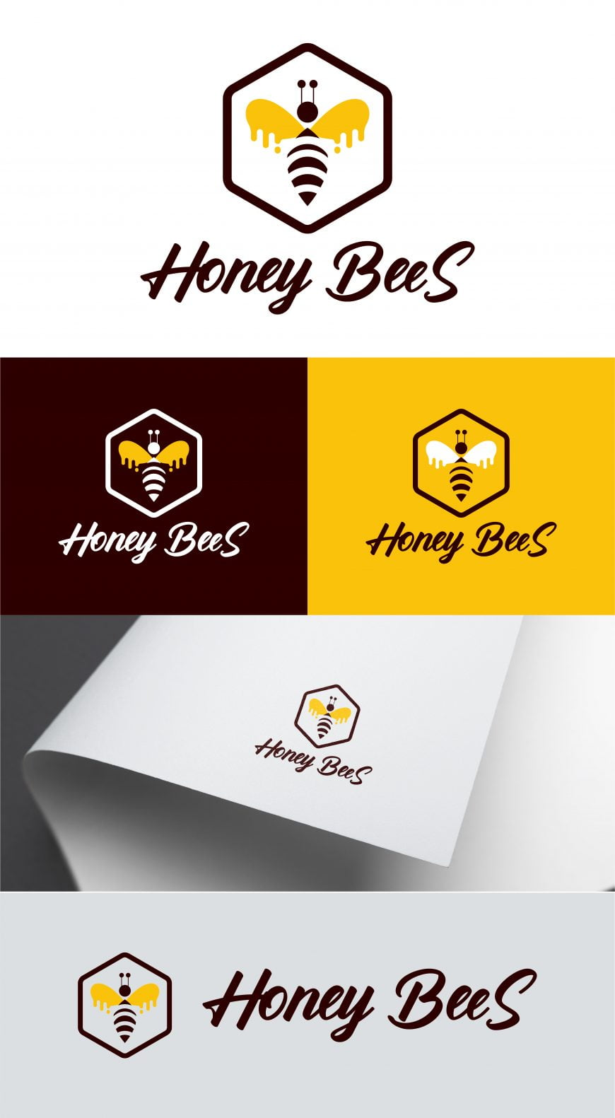 honey bees logo template