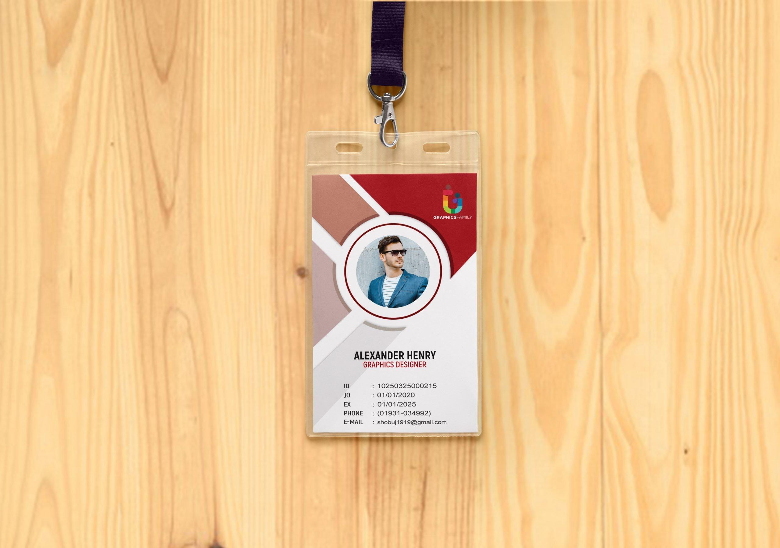 id card design with wood mockup presentation