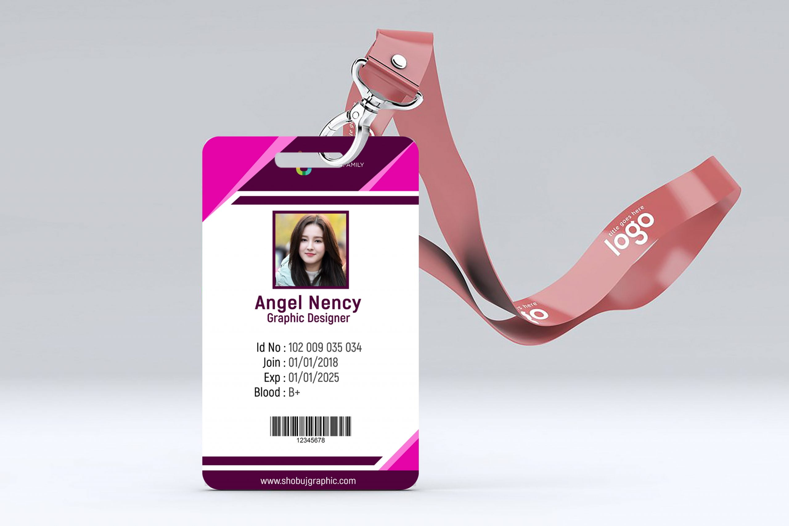 id card in realistic mockup