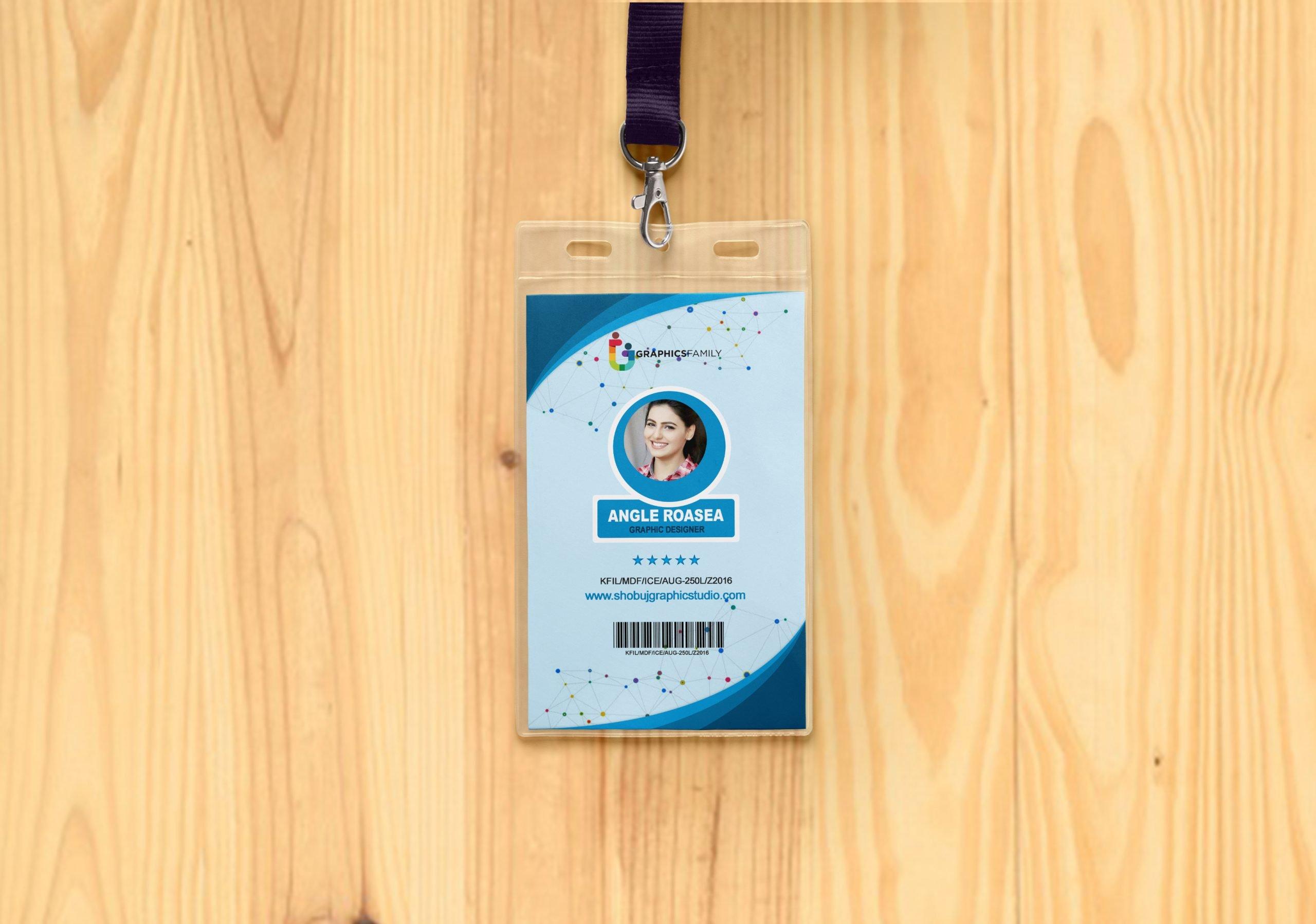 id card on wood mockup presentation