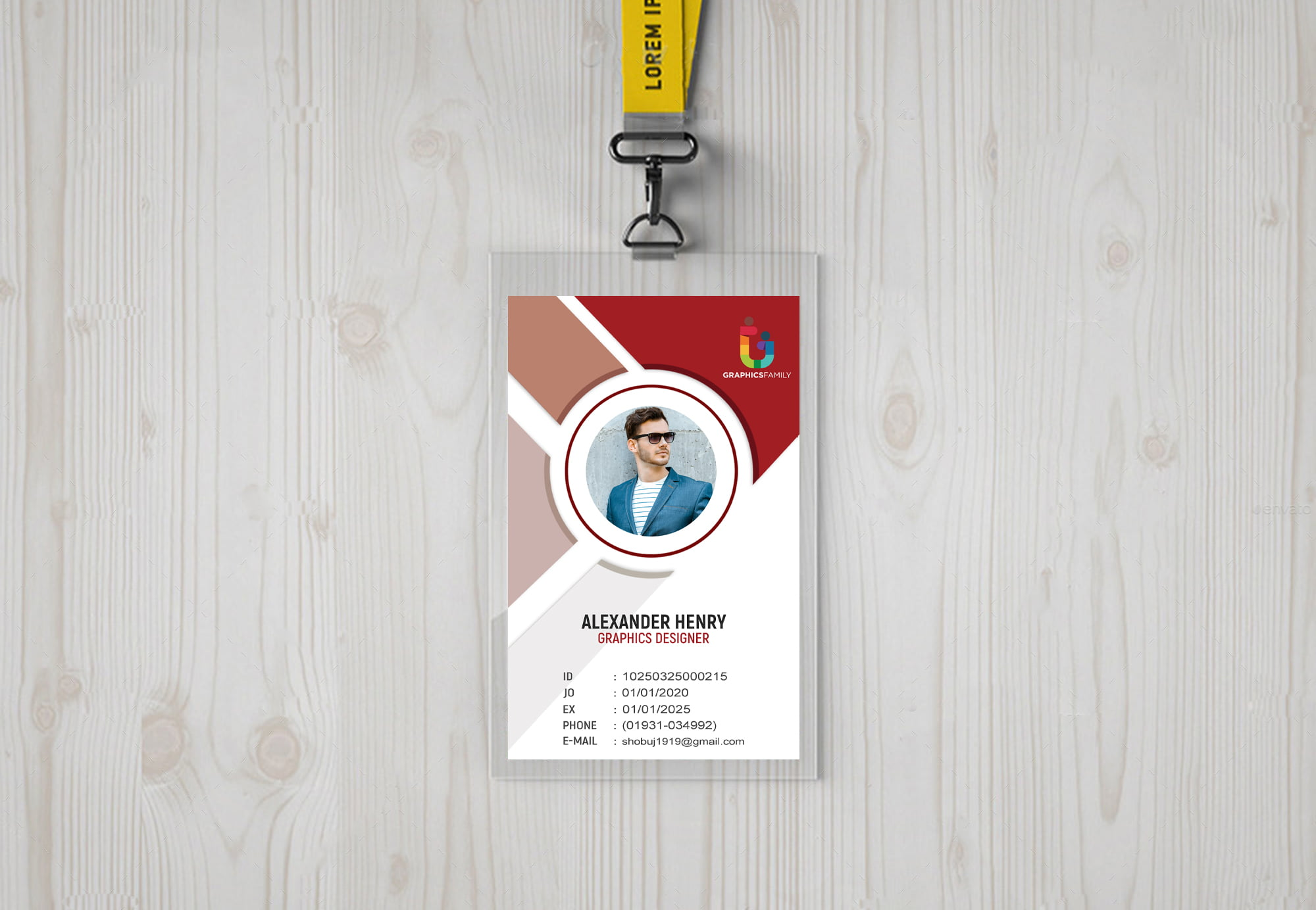 id-card template with flat design