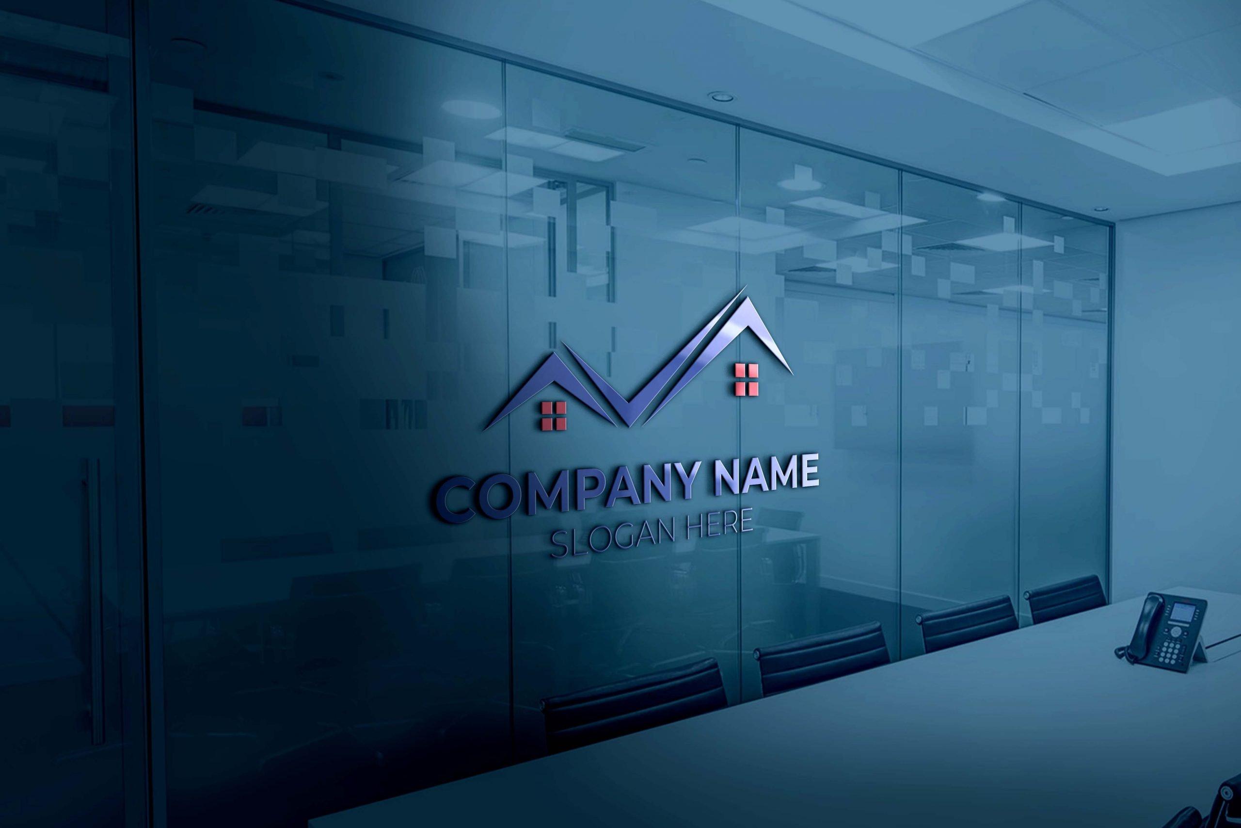real estate logo on 3d glass window