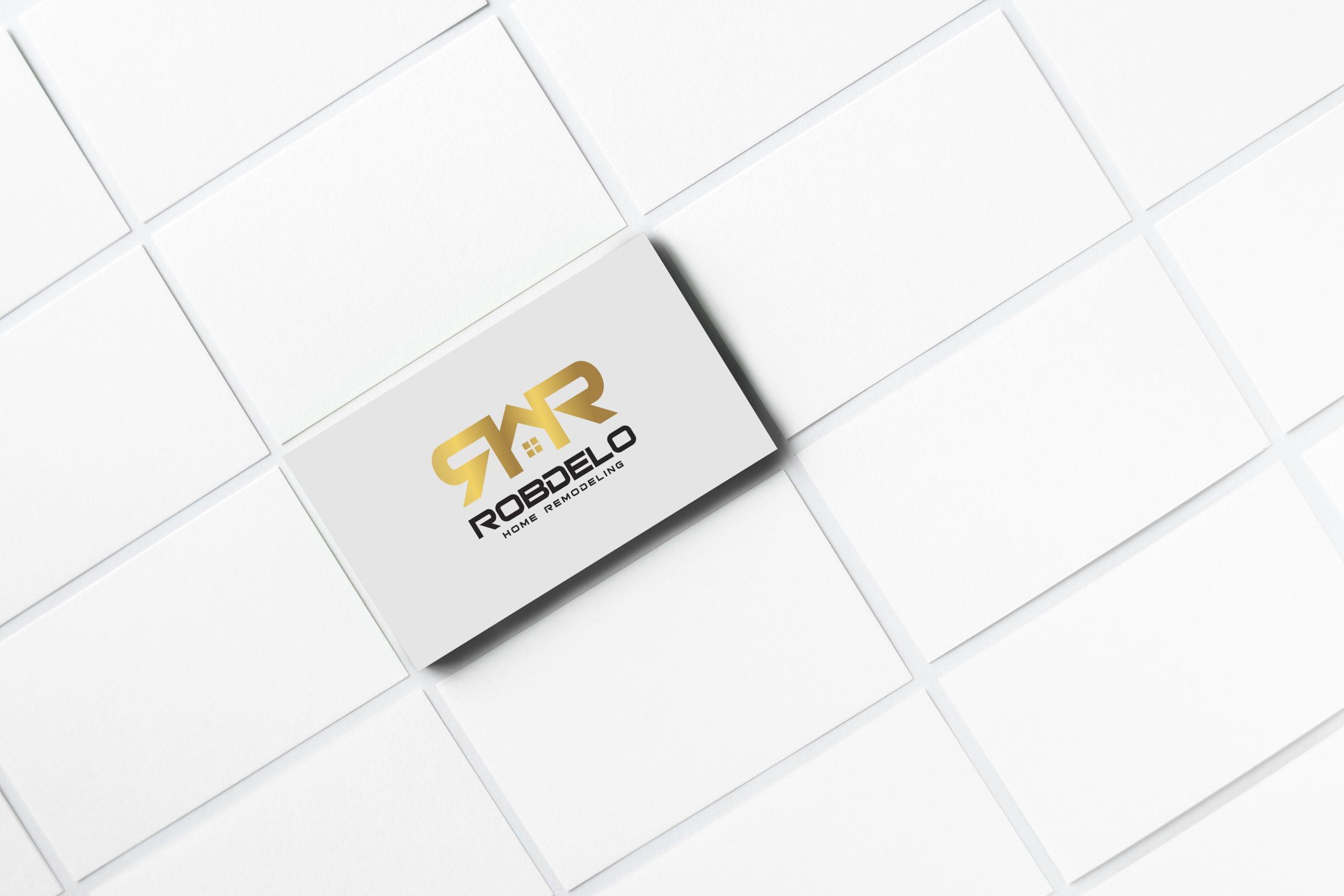 real estate logo on business card presentation