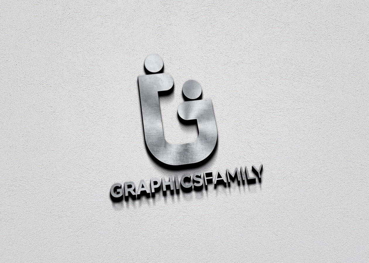 GraphicsFamily Free 3D Metallic Silver Logo PSD Mockup