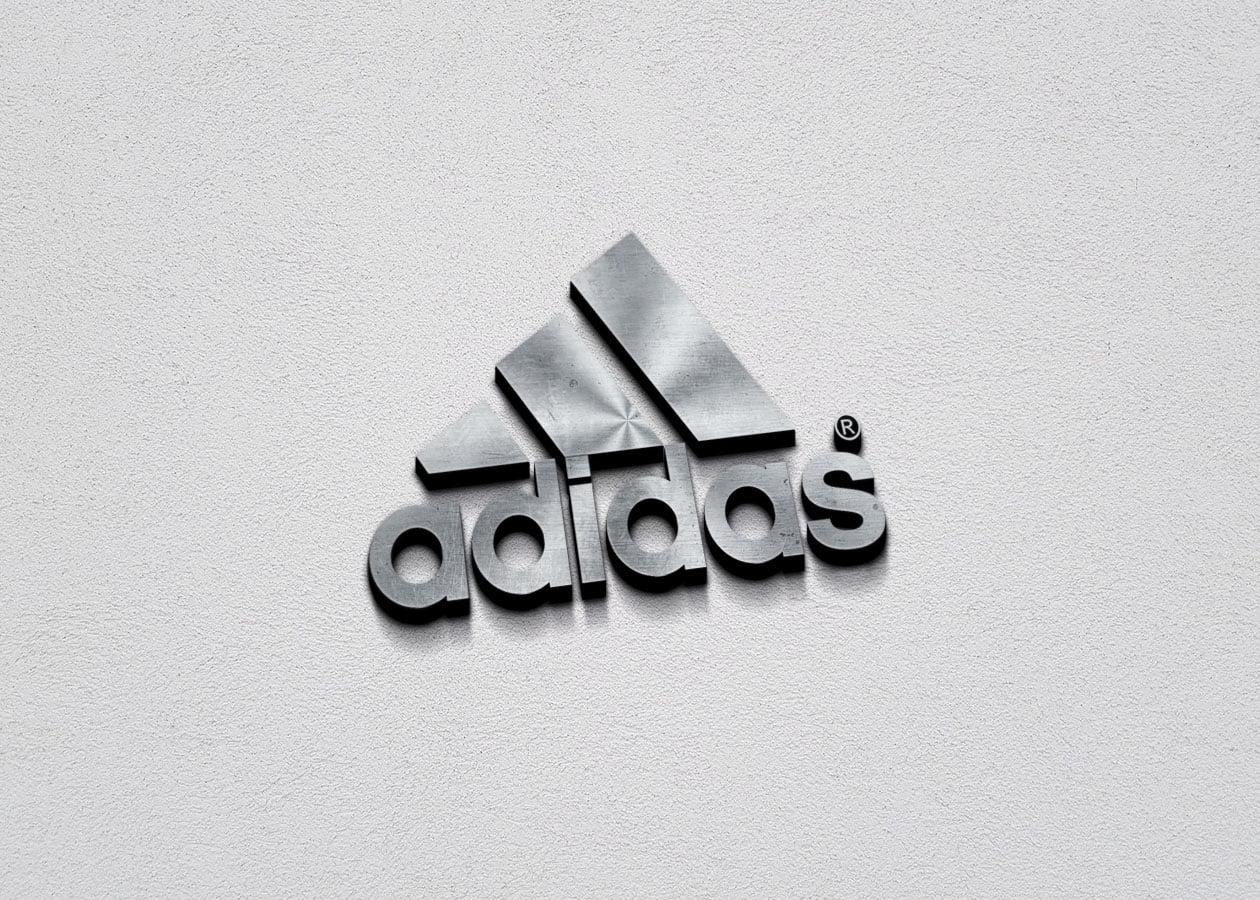 Adidas Free 3D Metallic Silver Logo PSD Mockup