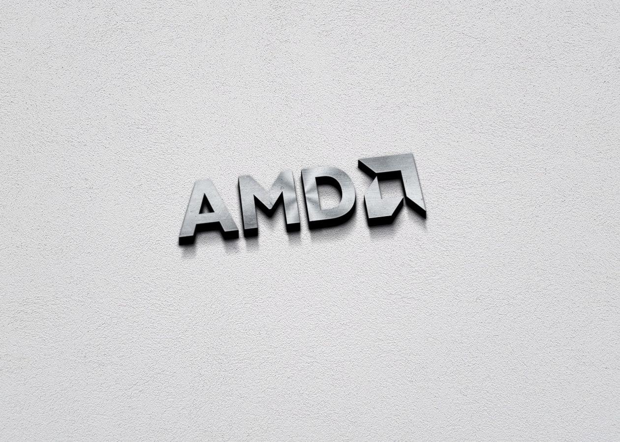 AMD Free 3D Metallic Silver Logo PSD Mockup