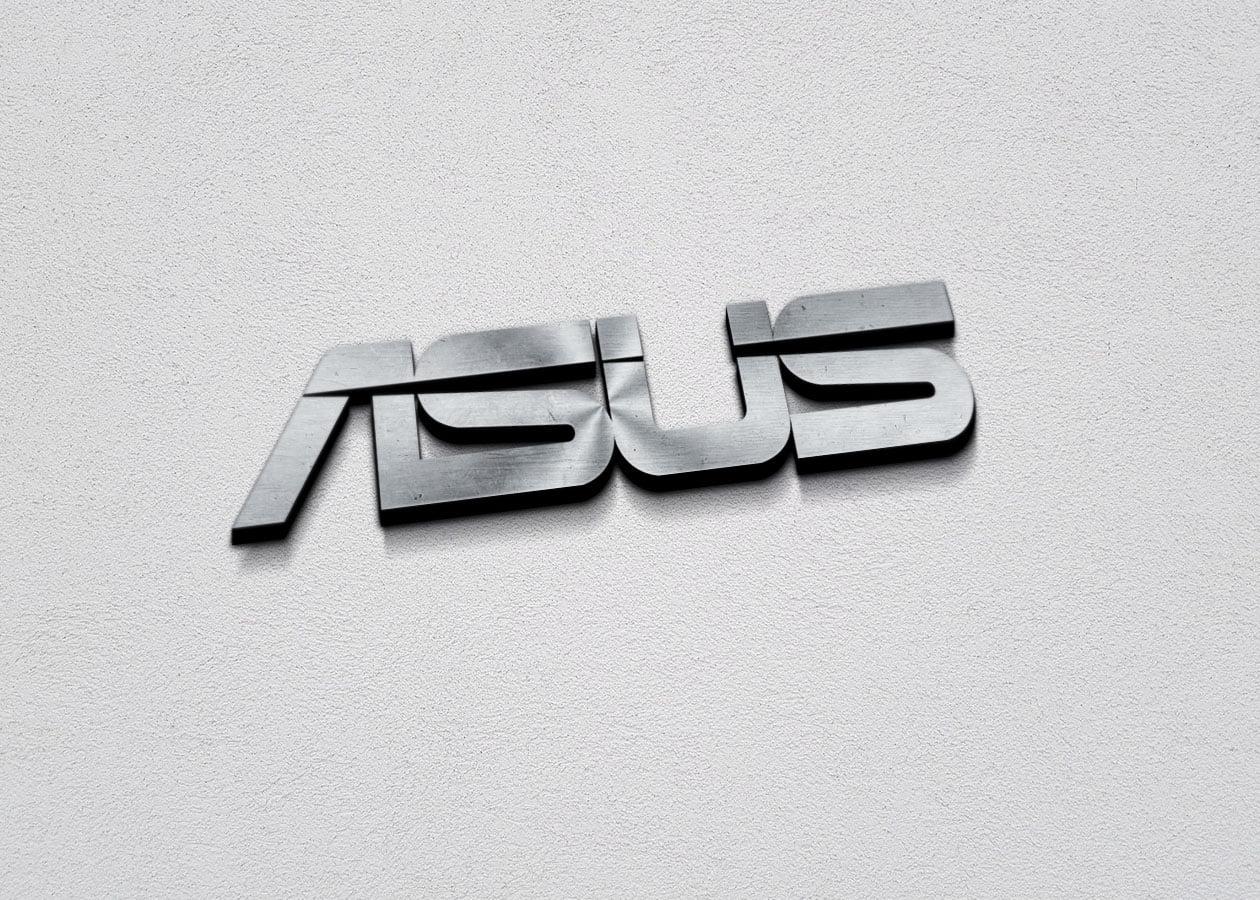 Asus Free 3D Metallic Silver Logo PSD Mockup