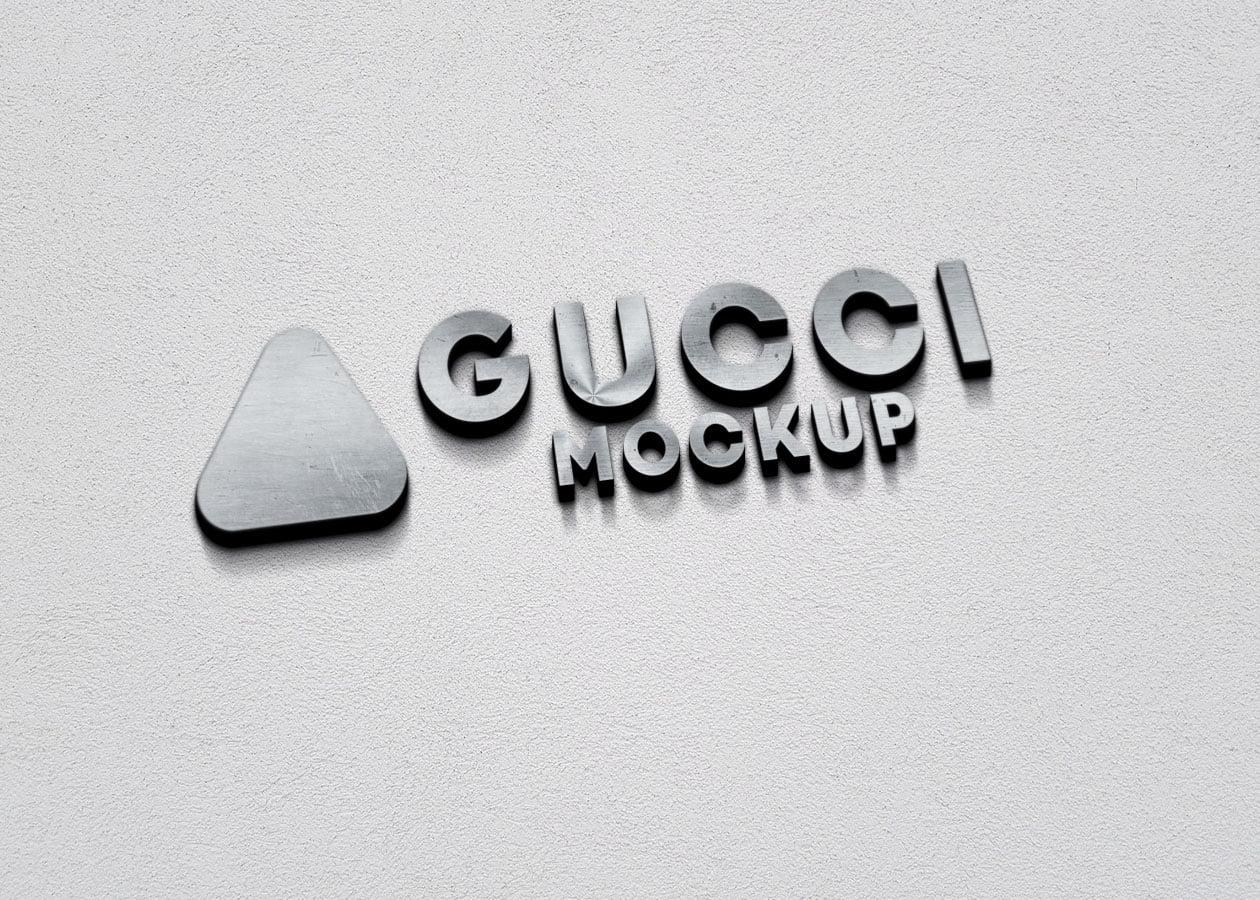 Gucci Free 3D Metallic Silver Logo PSD Mockup