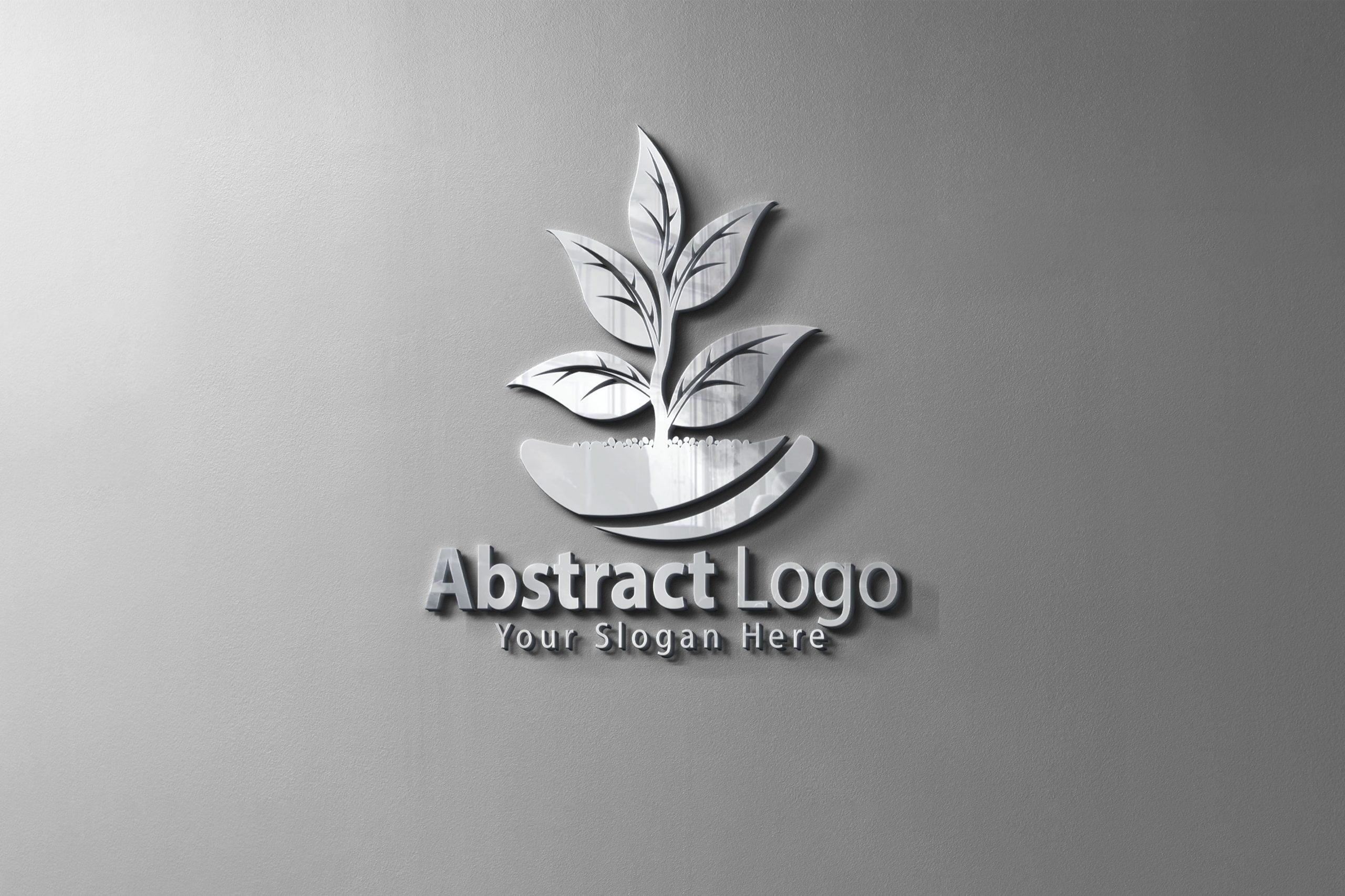 Abstract Logo on silver metal