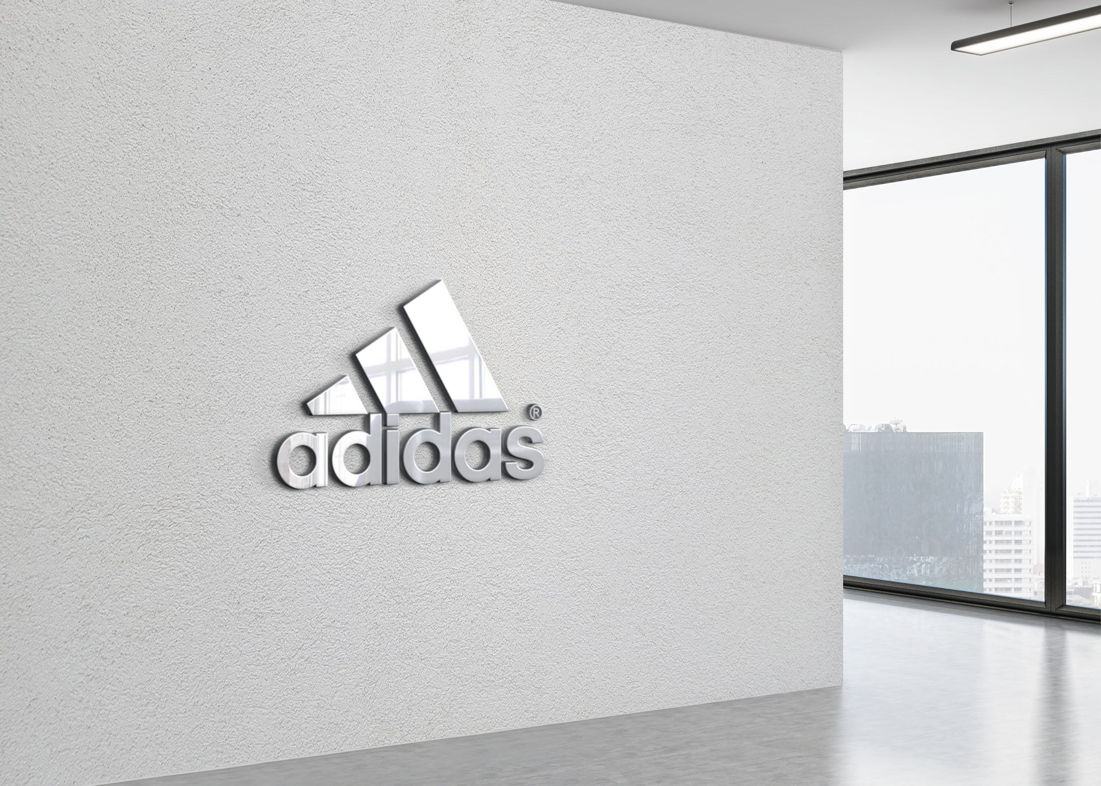 Adidas on 3d office wall logo mockup