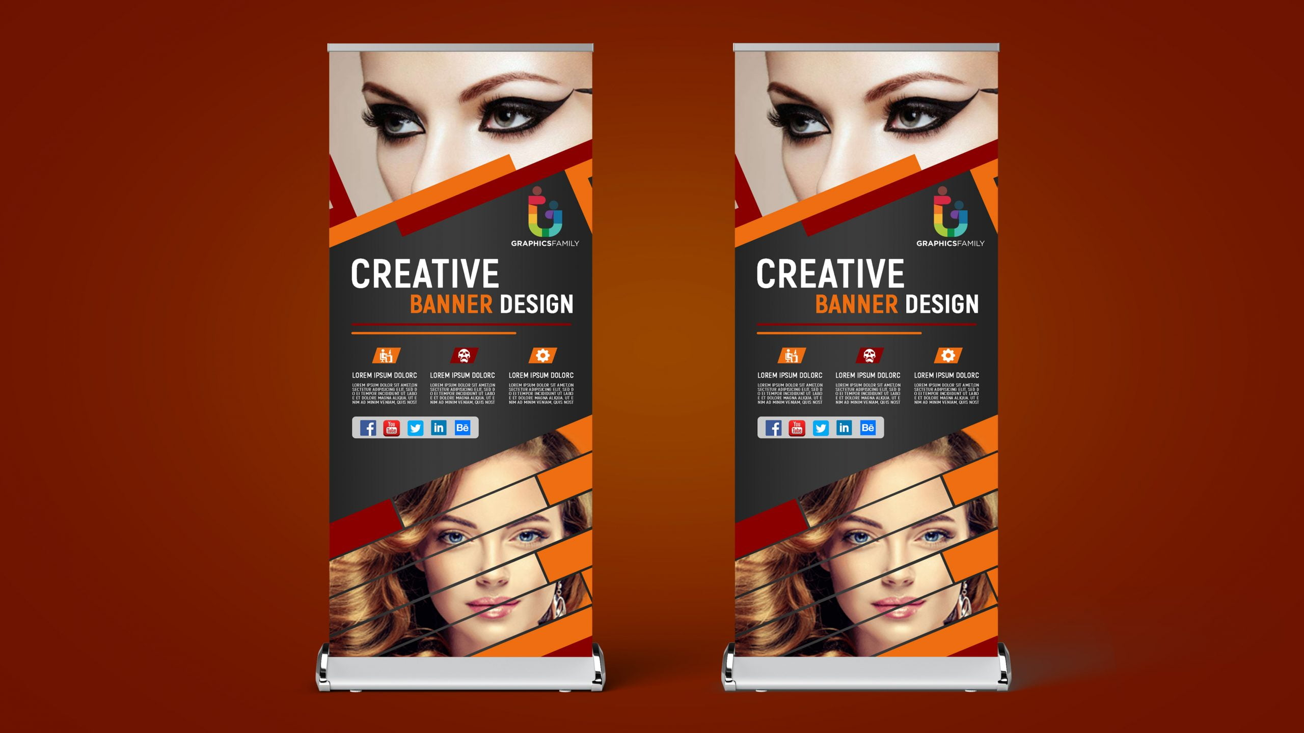 Beauty Parlor Roll Up Banner Design Free Psd