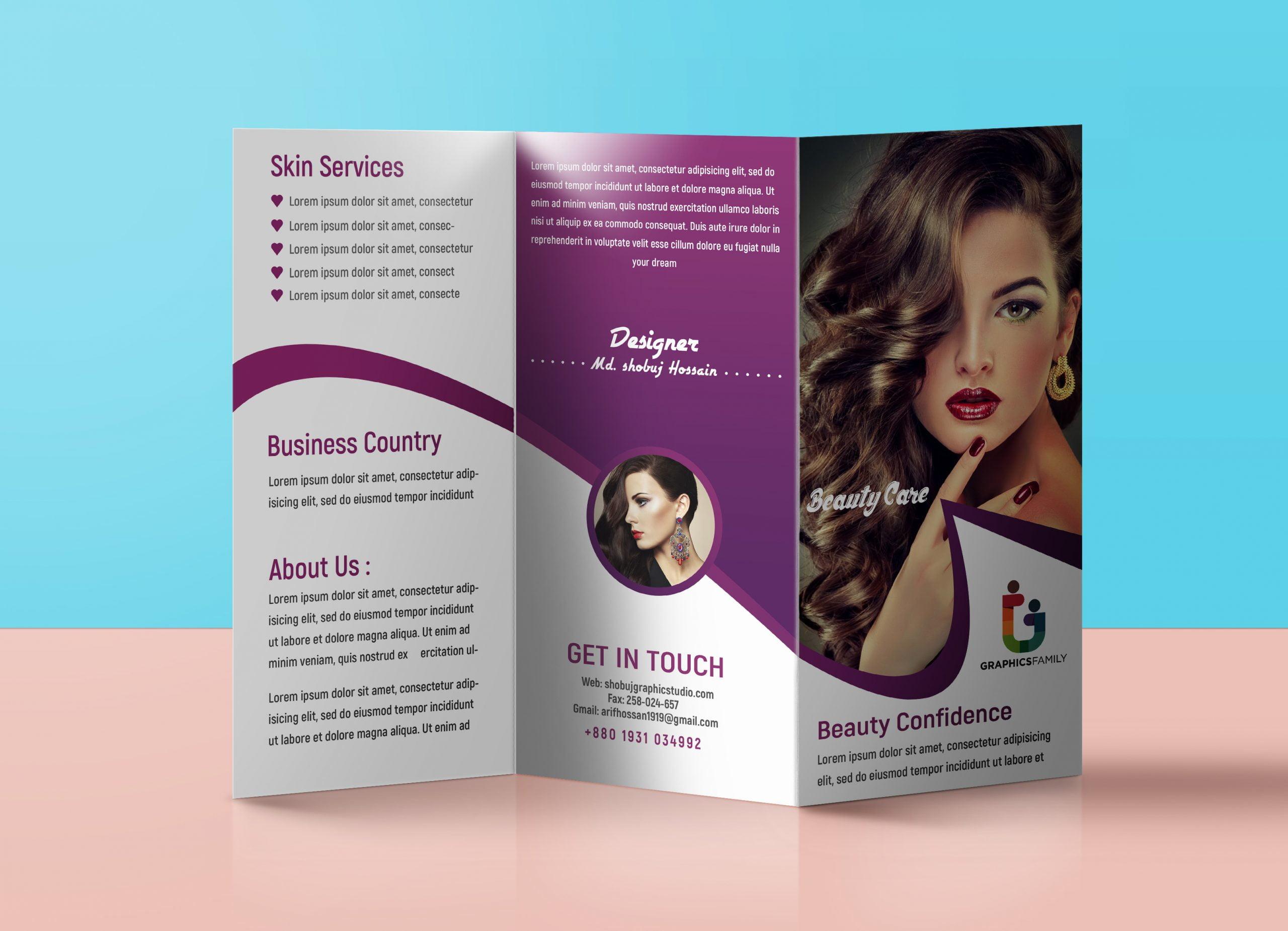 Beauty salon trifold brochure presentation