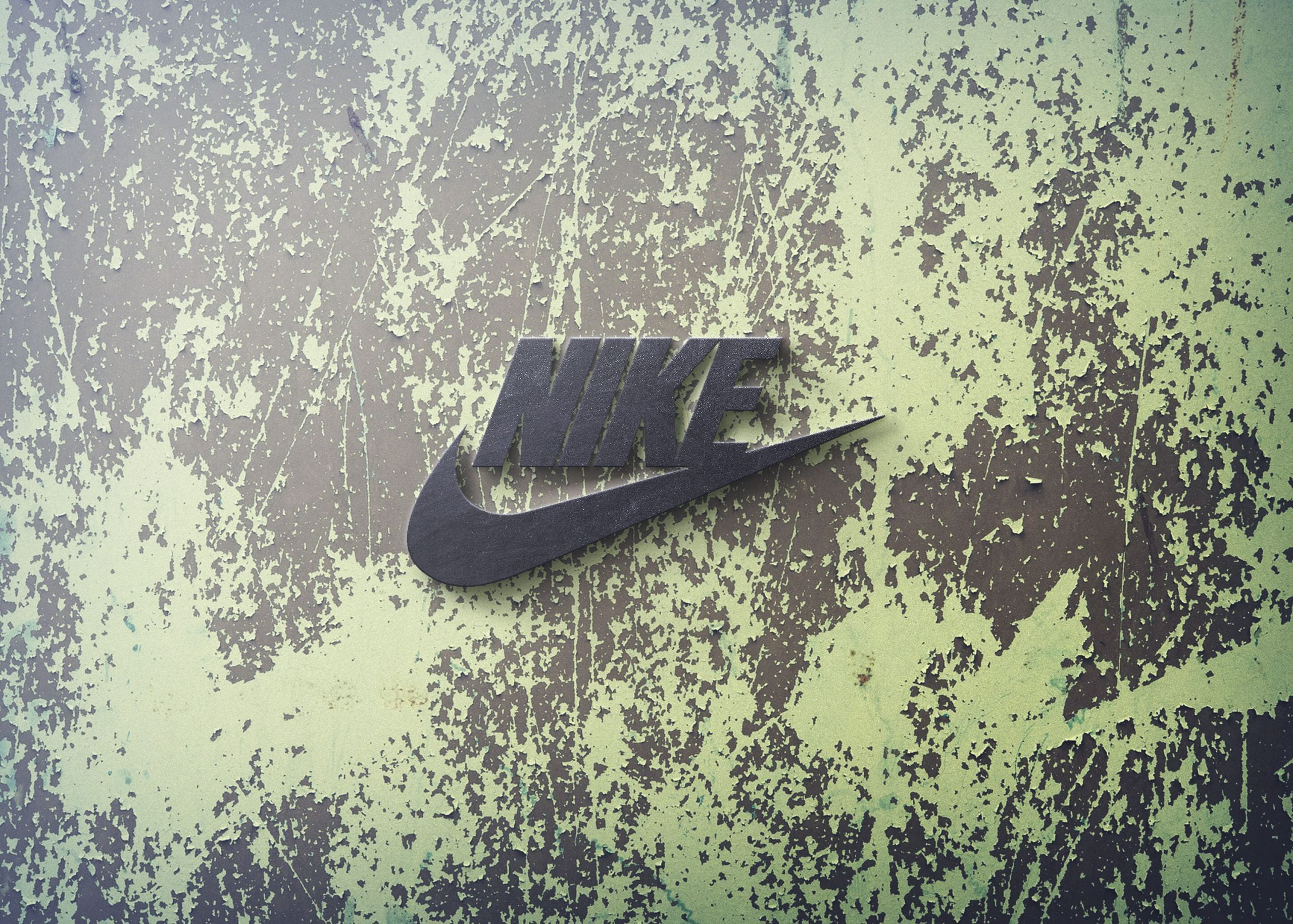 Nike 3d wall logo mockup free psd