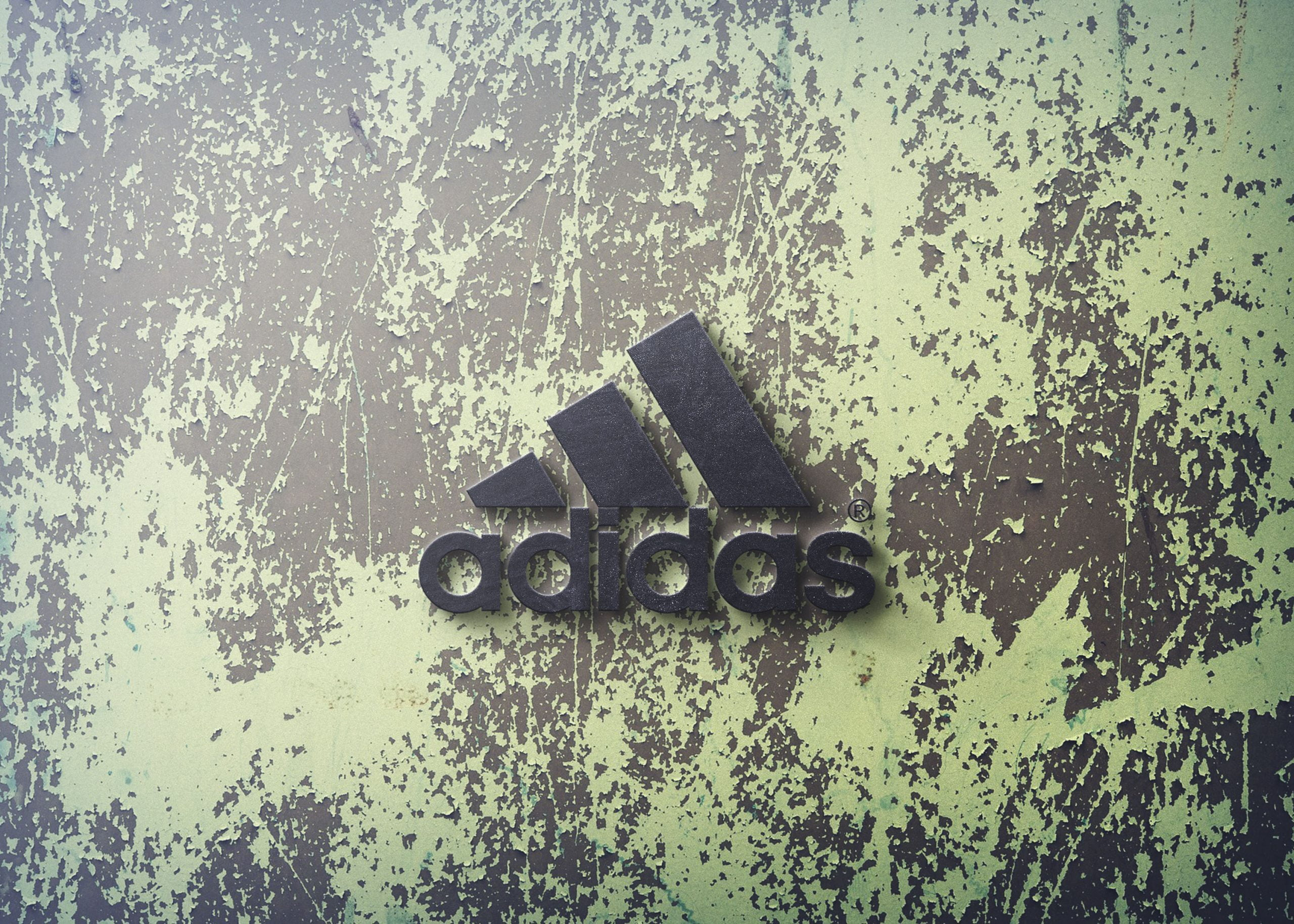 Adidas 3d wall logo mockup free