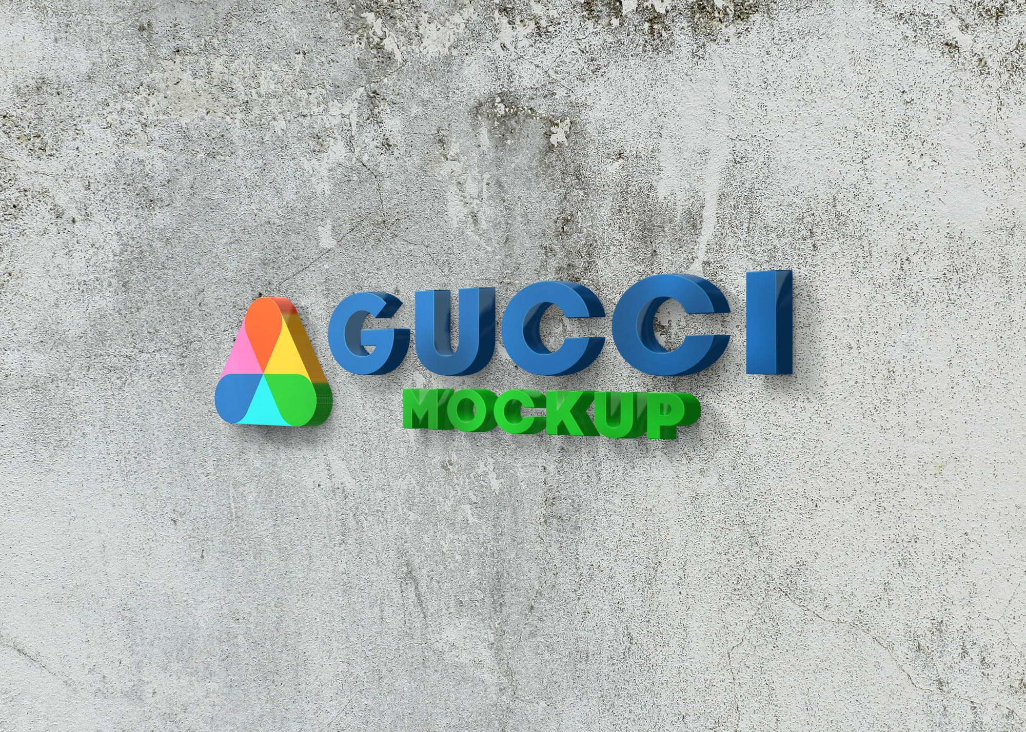 Gucci logo on 3d wall logo