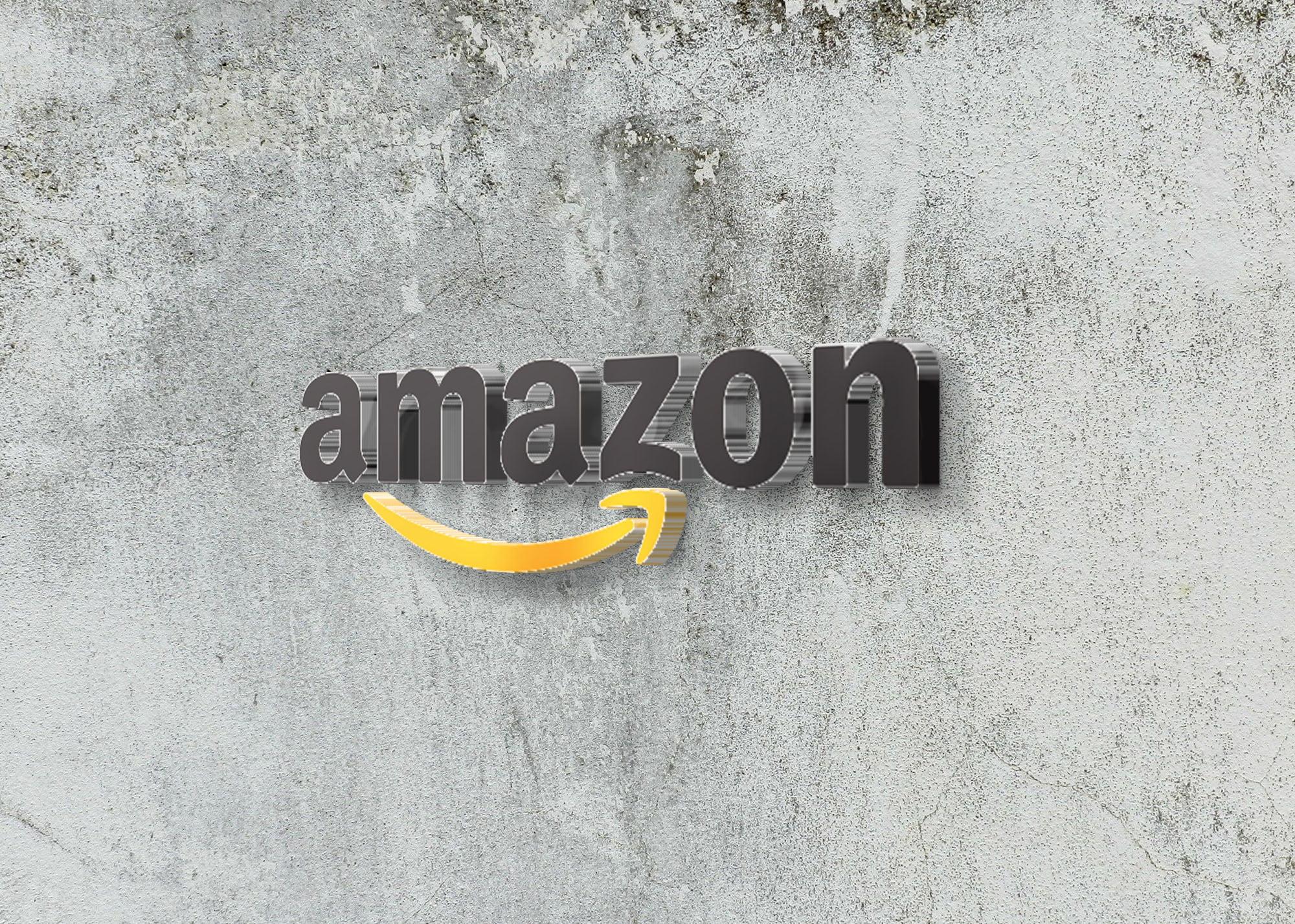 Amazon logo on 3d wall logo