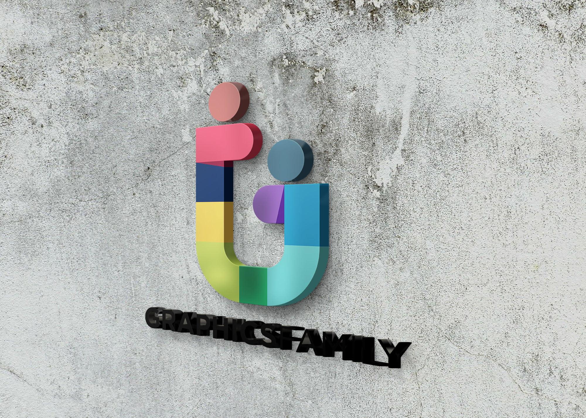 GraphicsFamily logo on 3d wall logo