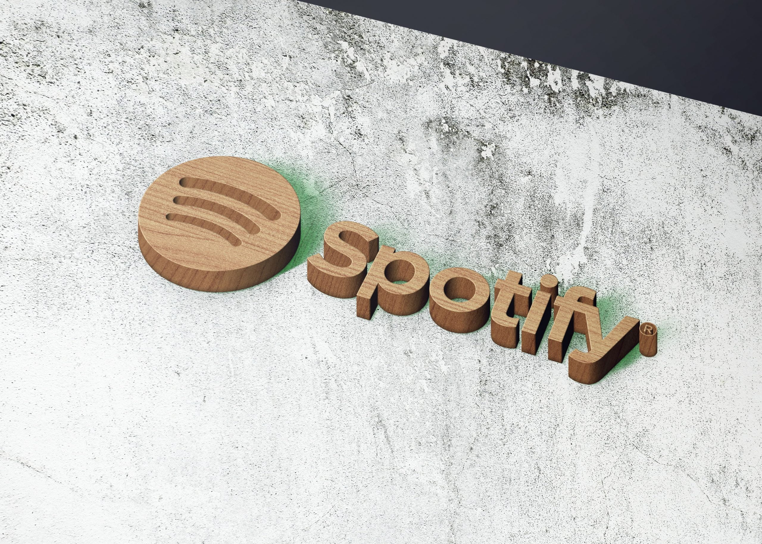 Spotify on realistice 3d wall