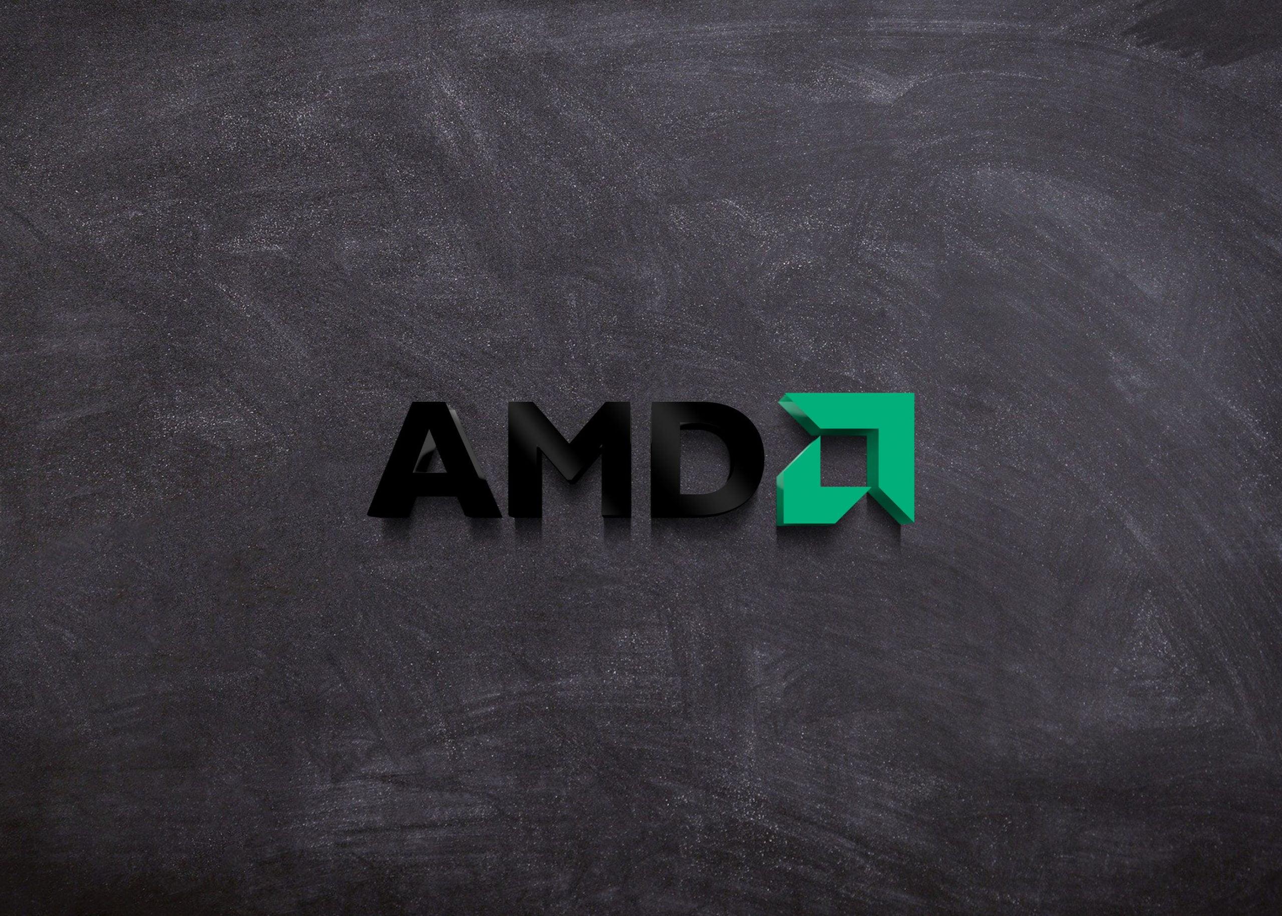 AMD Logo on 3d wall mockup