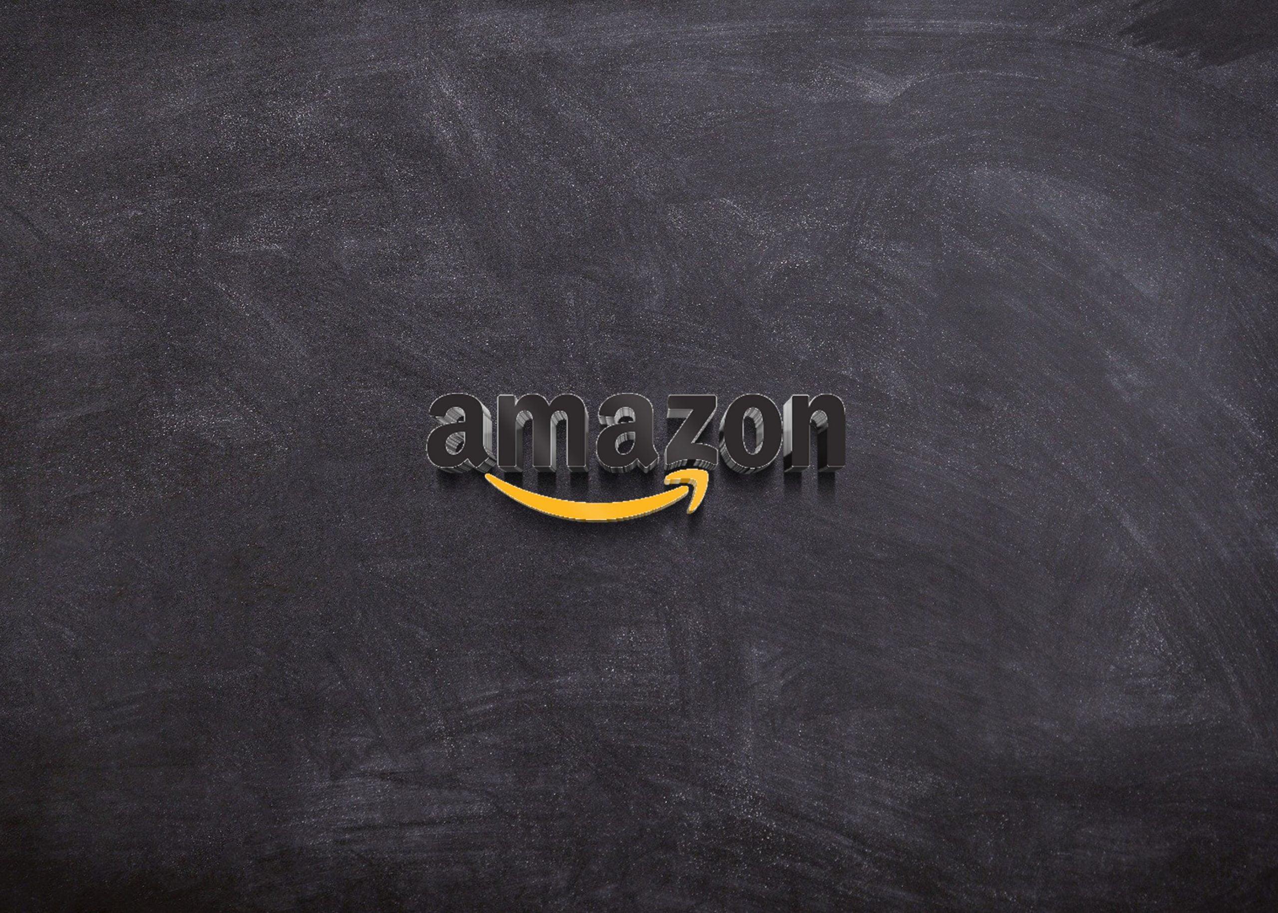 Amazon logo on 3d black wall