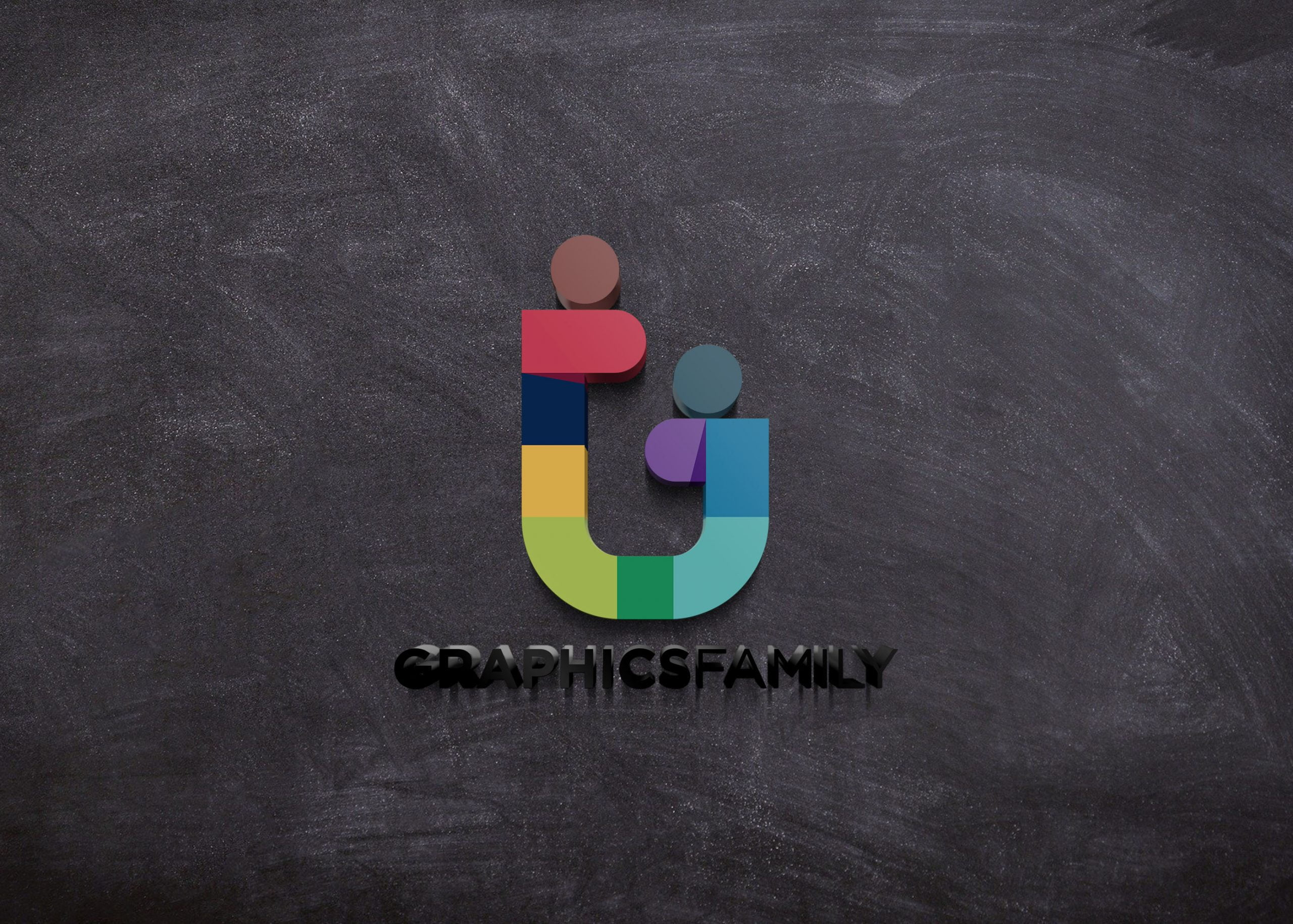 GraphicsFamily logo on 3d black wall