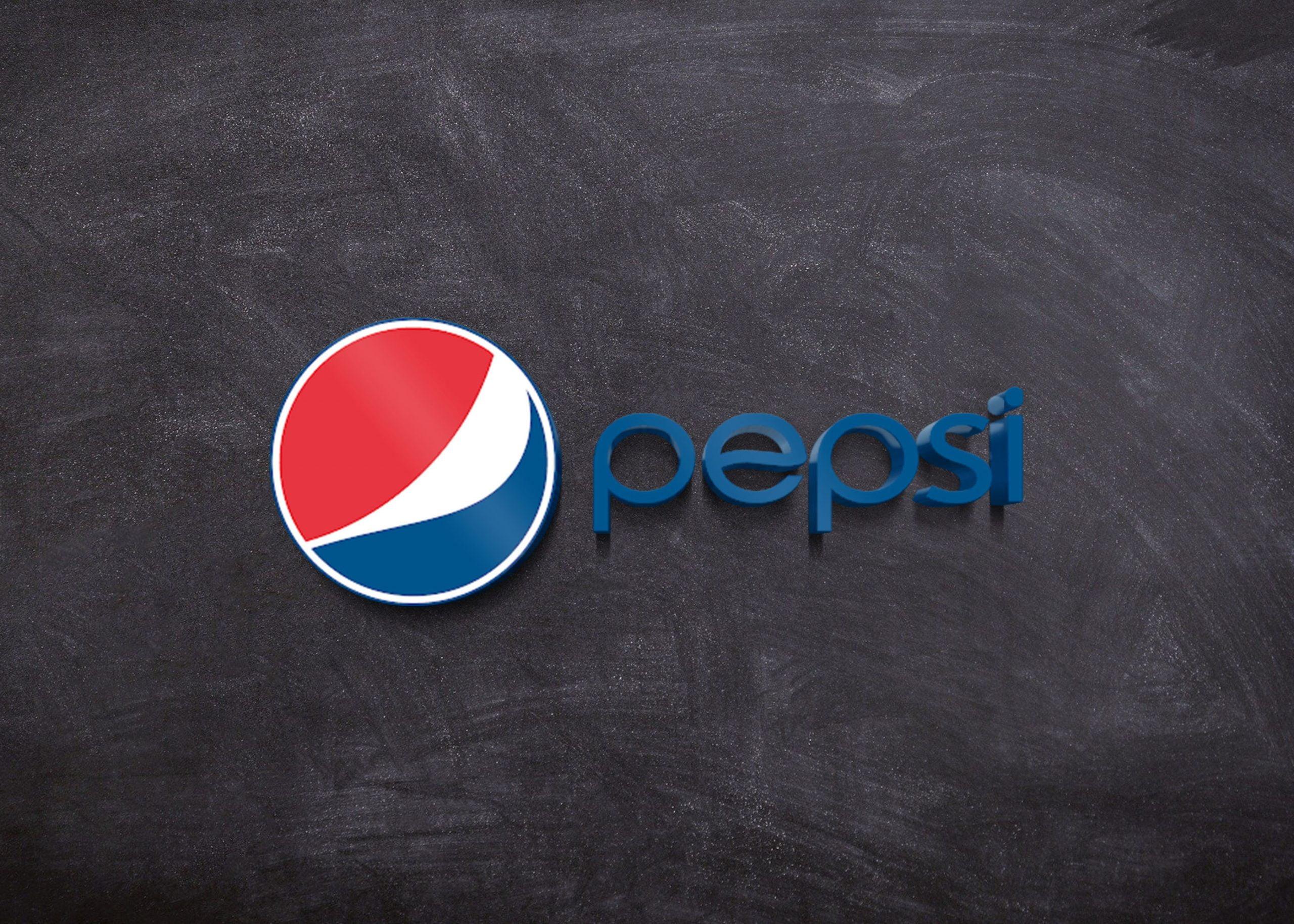 Pepsi on 3d wall mockup