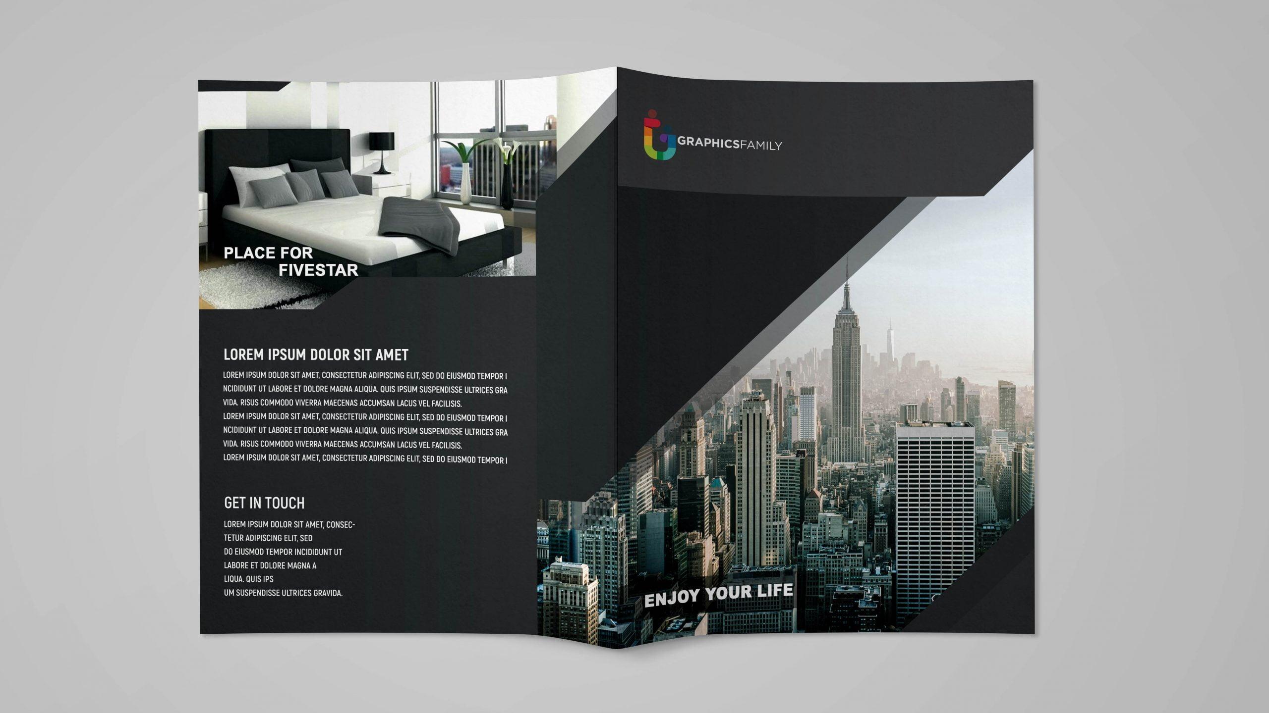 Black Bi Fold brochure Design for business