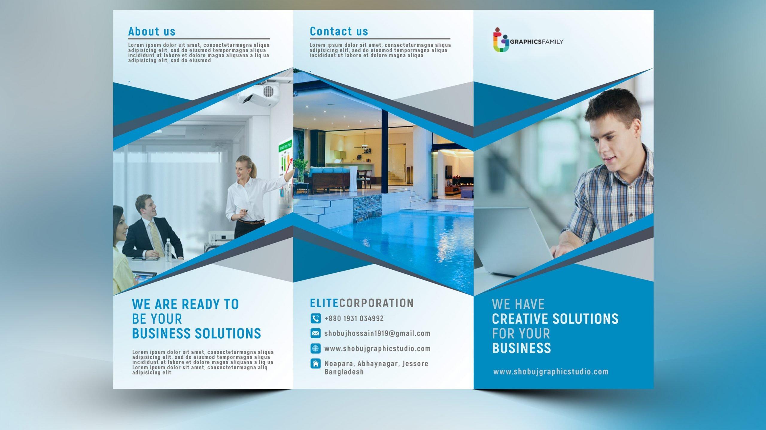 Blue Corporate Tri Fold Brochure Design