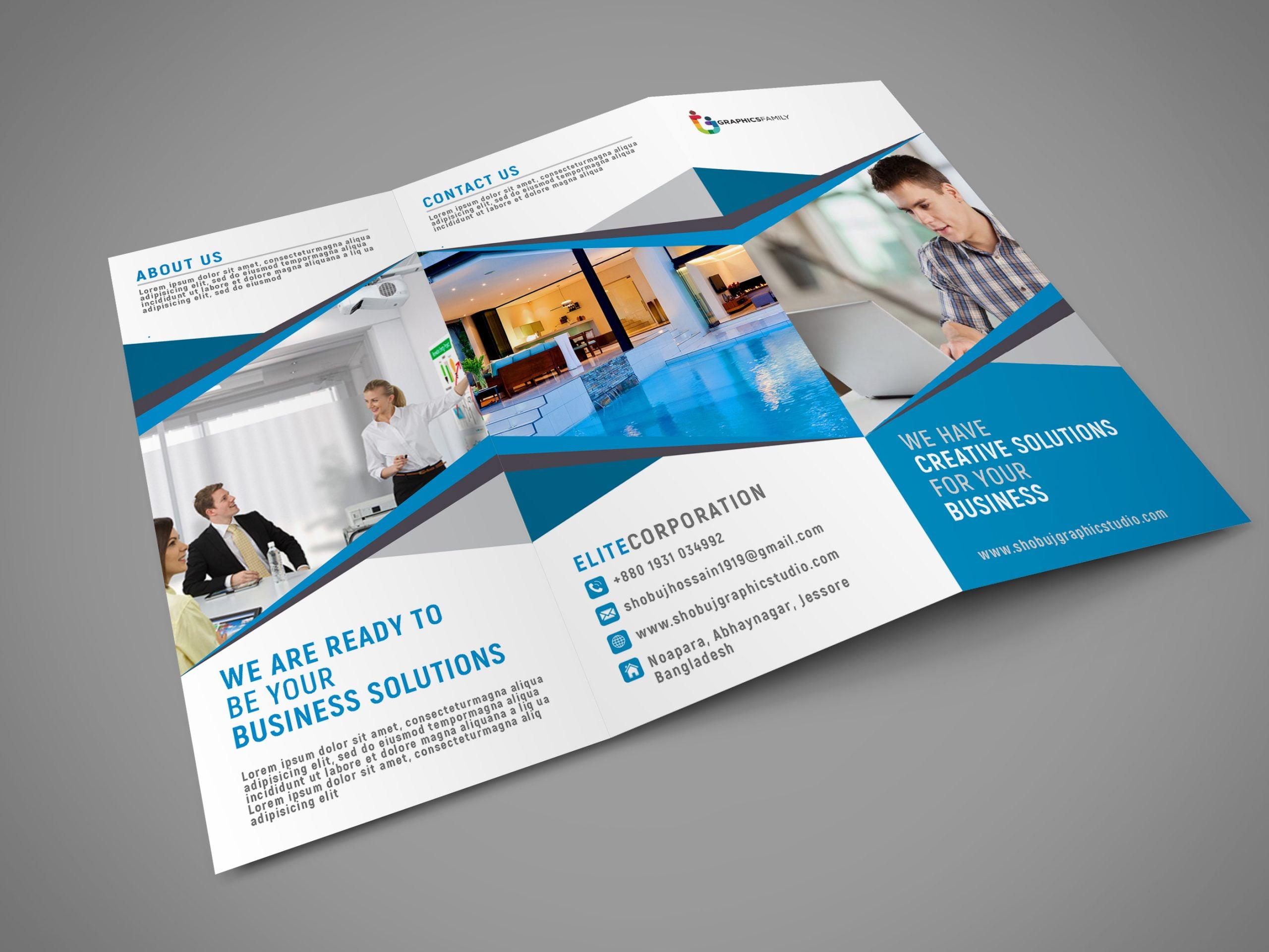 Blue Tri Fold Brochure for Business