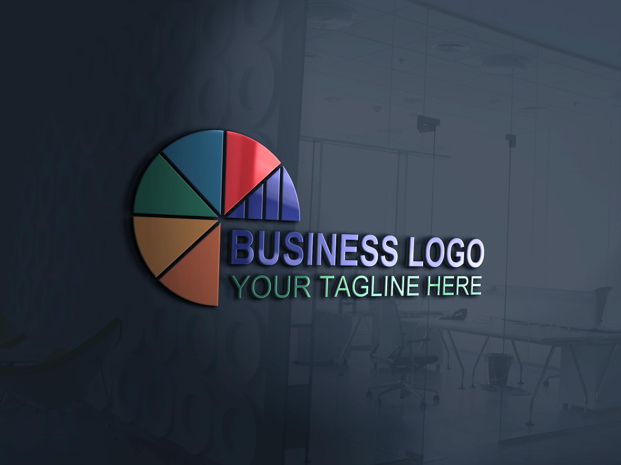 Business marketing logo design template on 3d glass window