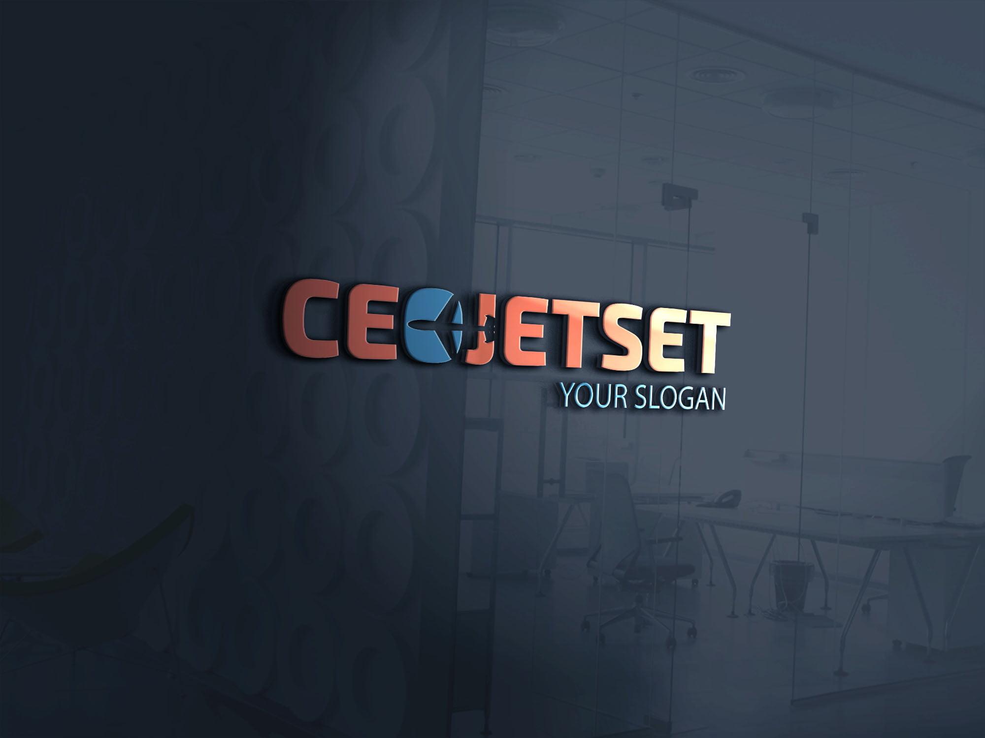 CEO jet set logo on 3d glass window
