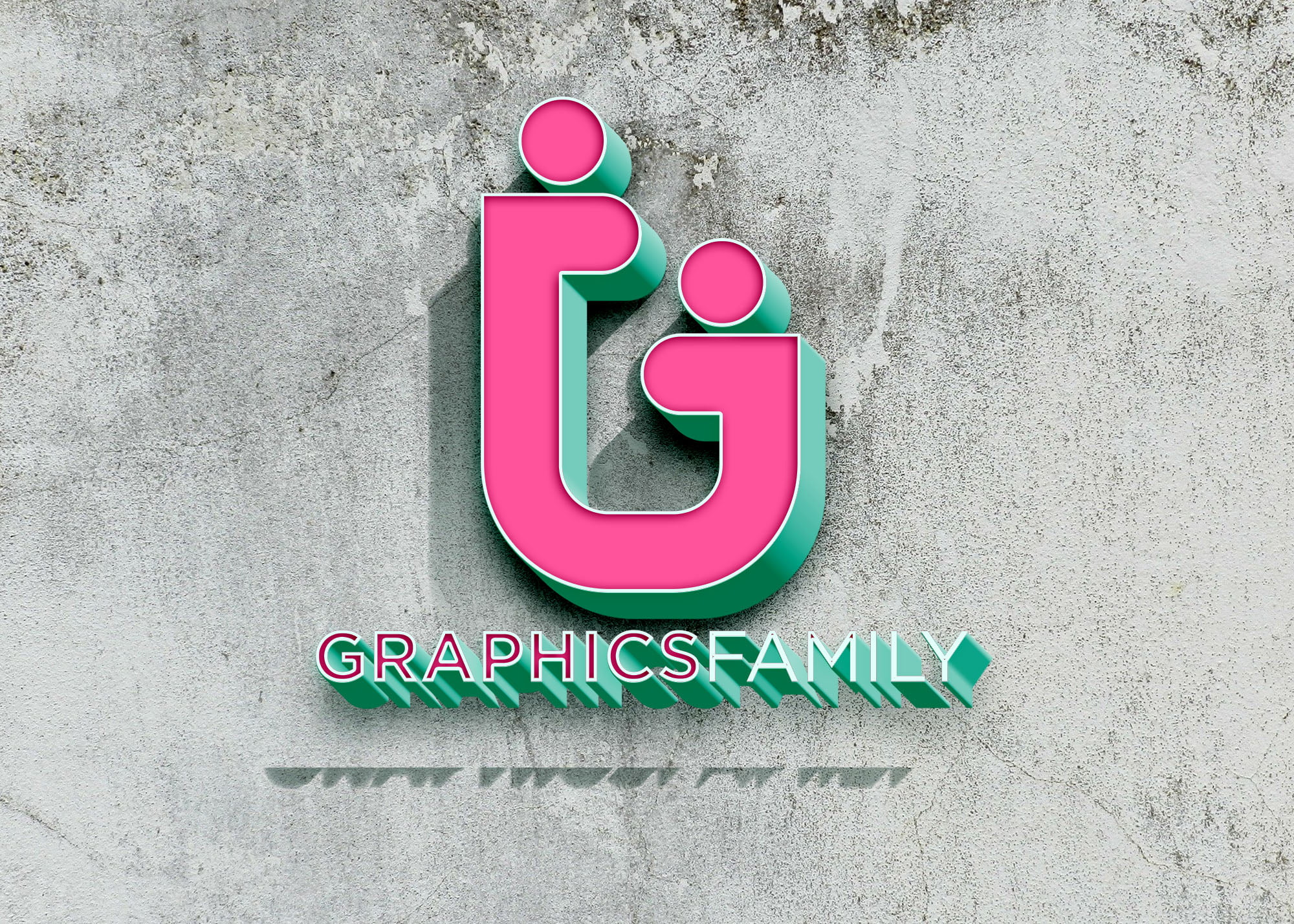 GraphicsFamily Colorful logo on 3d wall