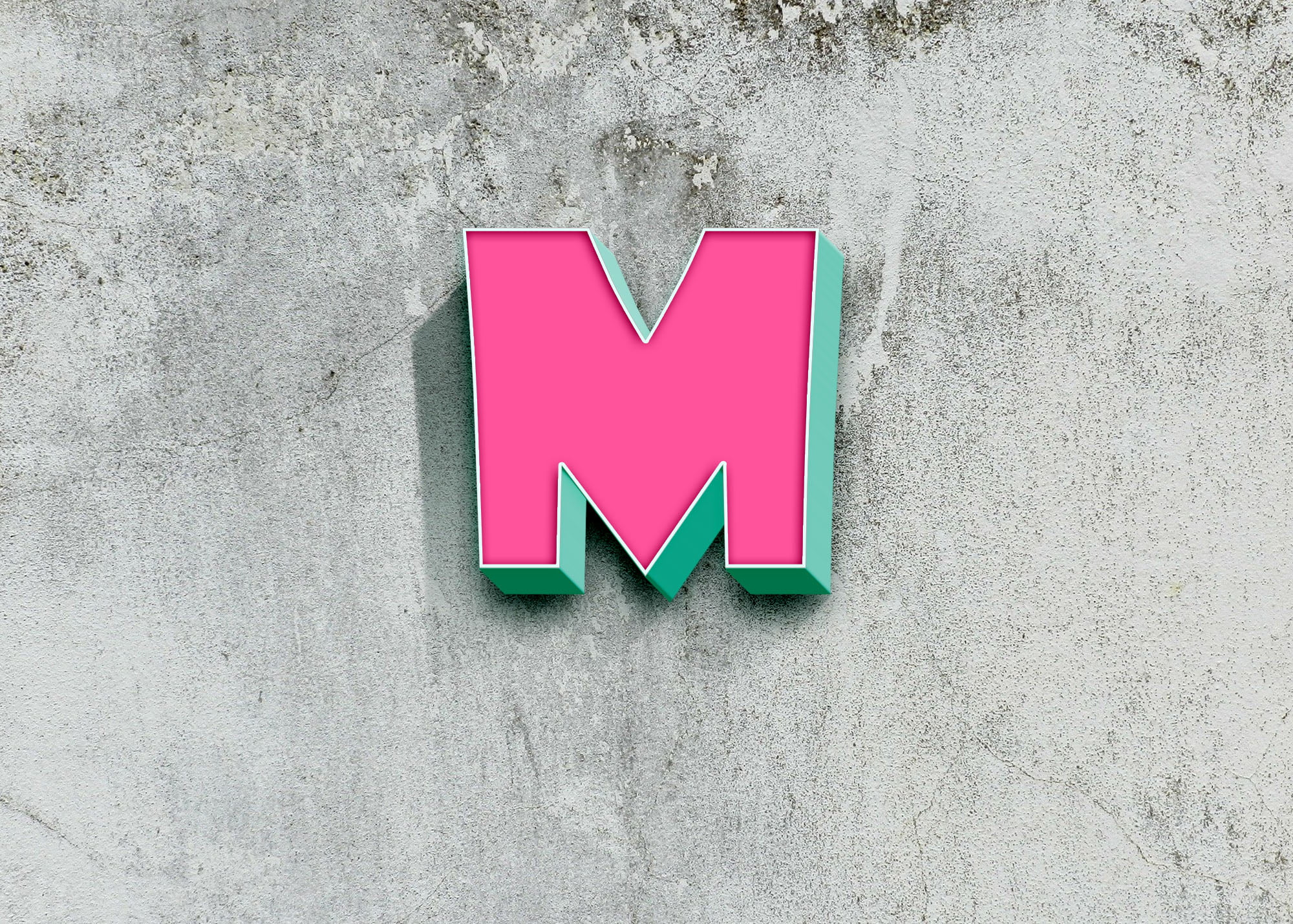 M Colorful logo on 3d wall