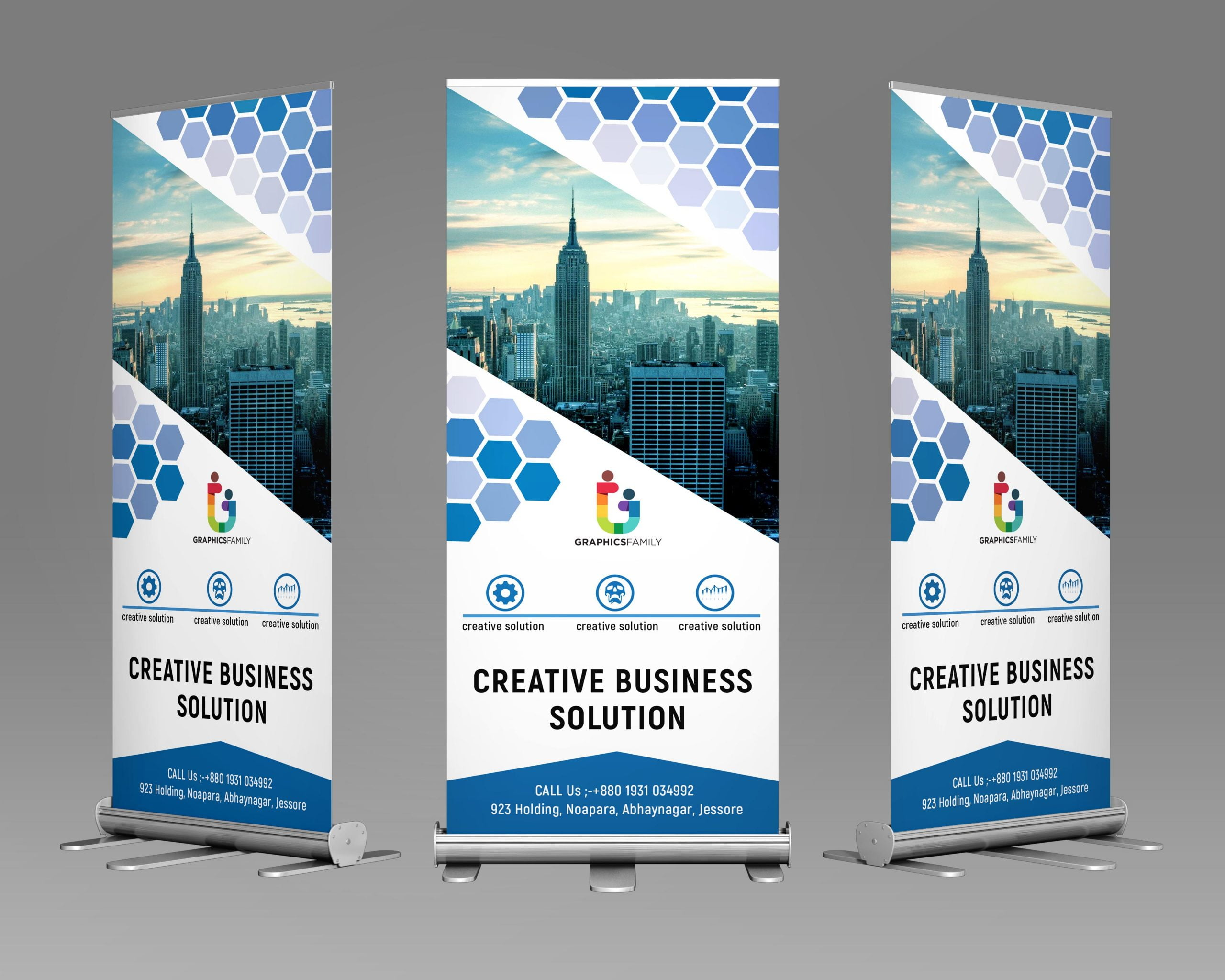 Corporate Polygonal Roll Up Banner Design