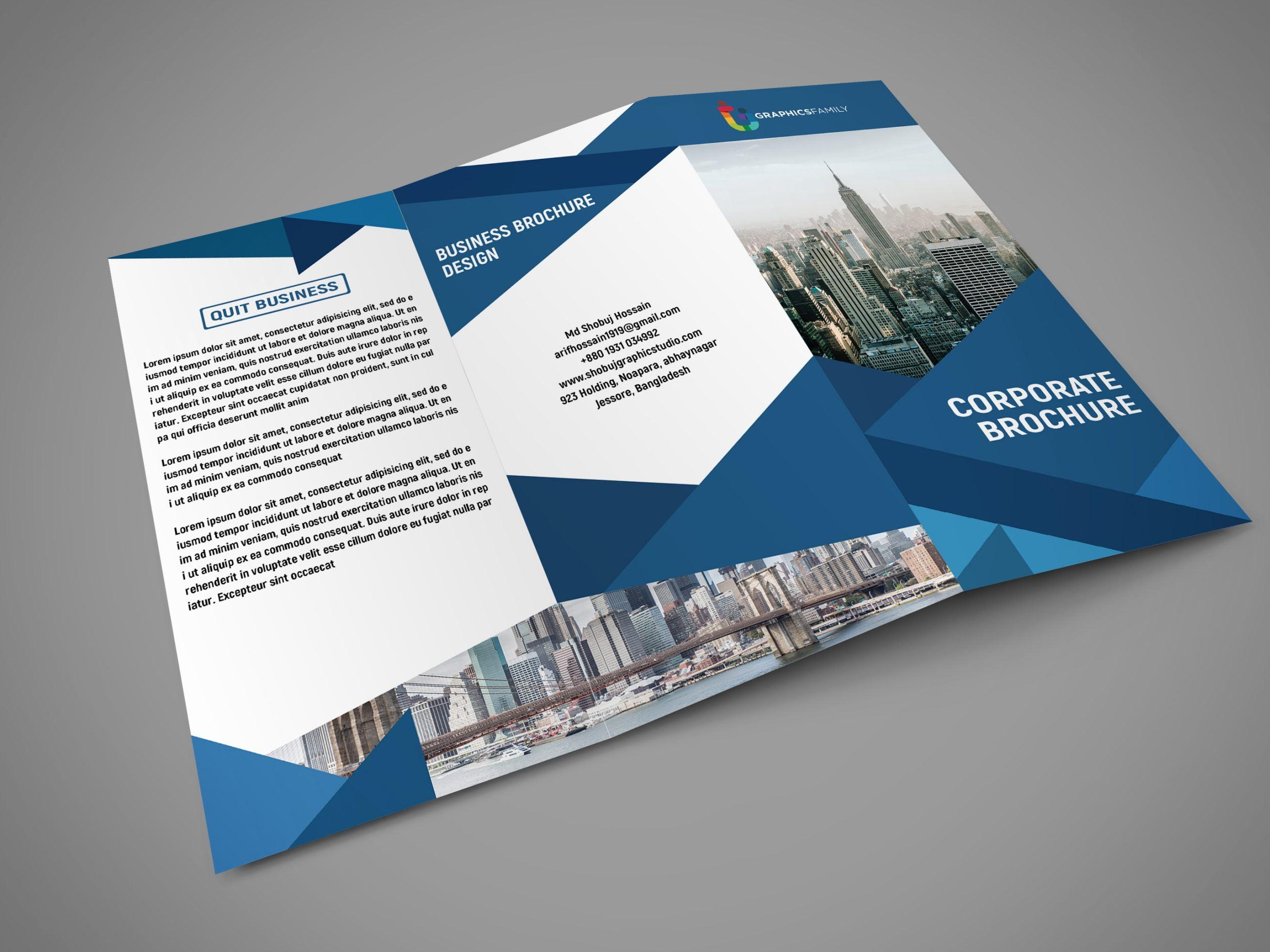 Corporate Tri Fold Brochure Design psd