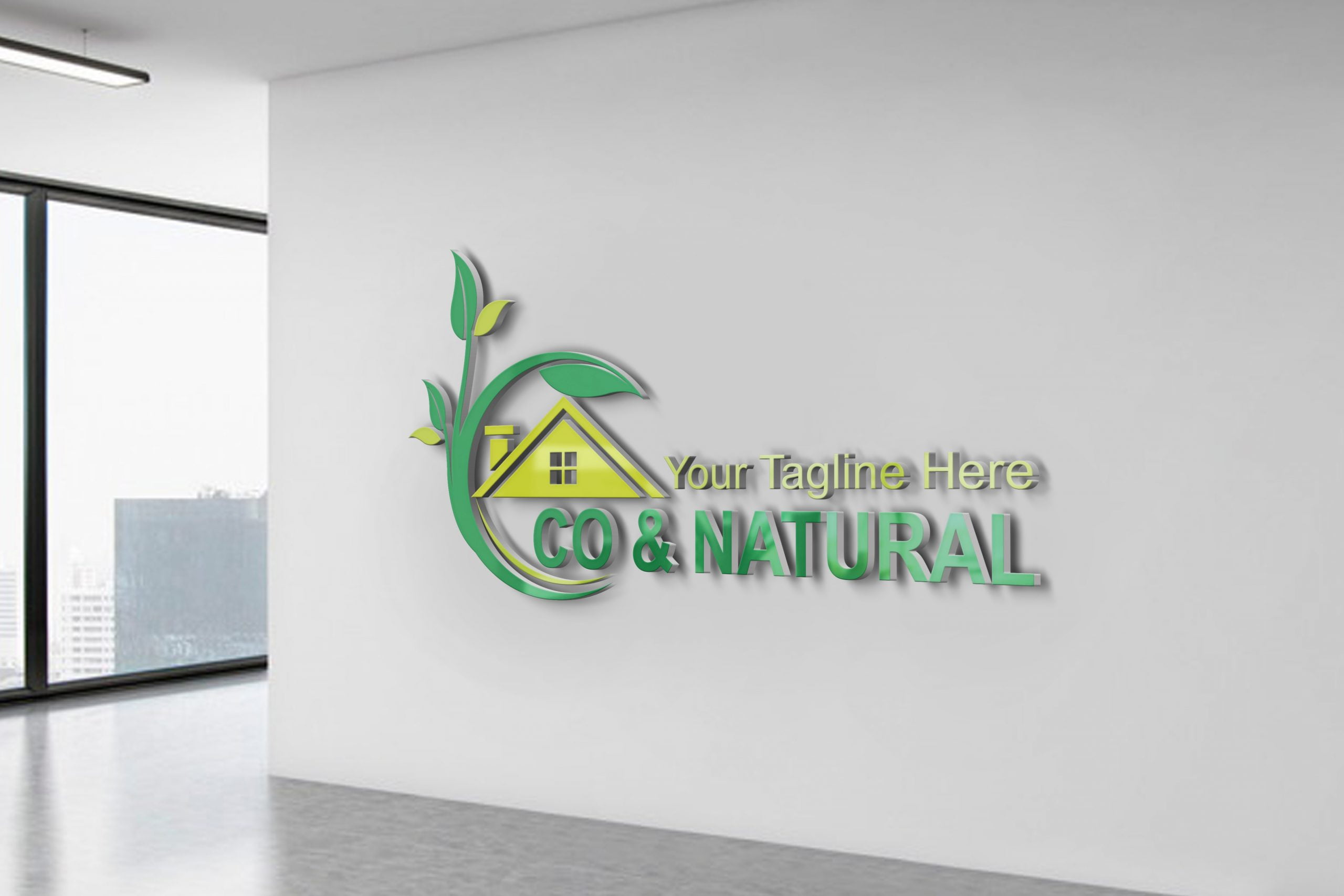 Eco & nature house logo design template on office wall
