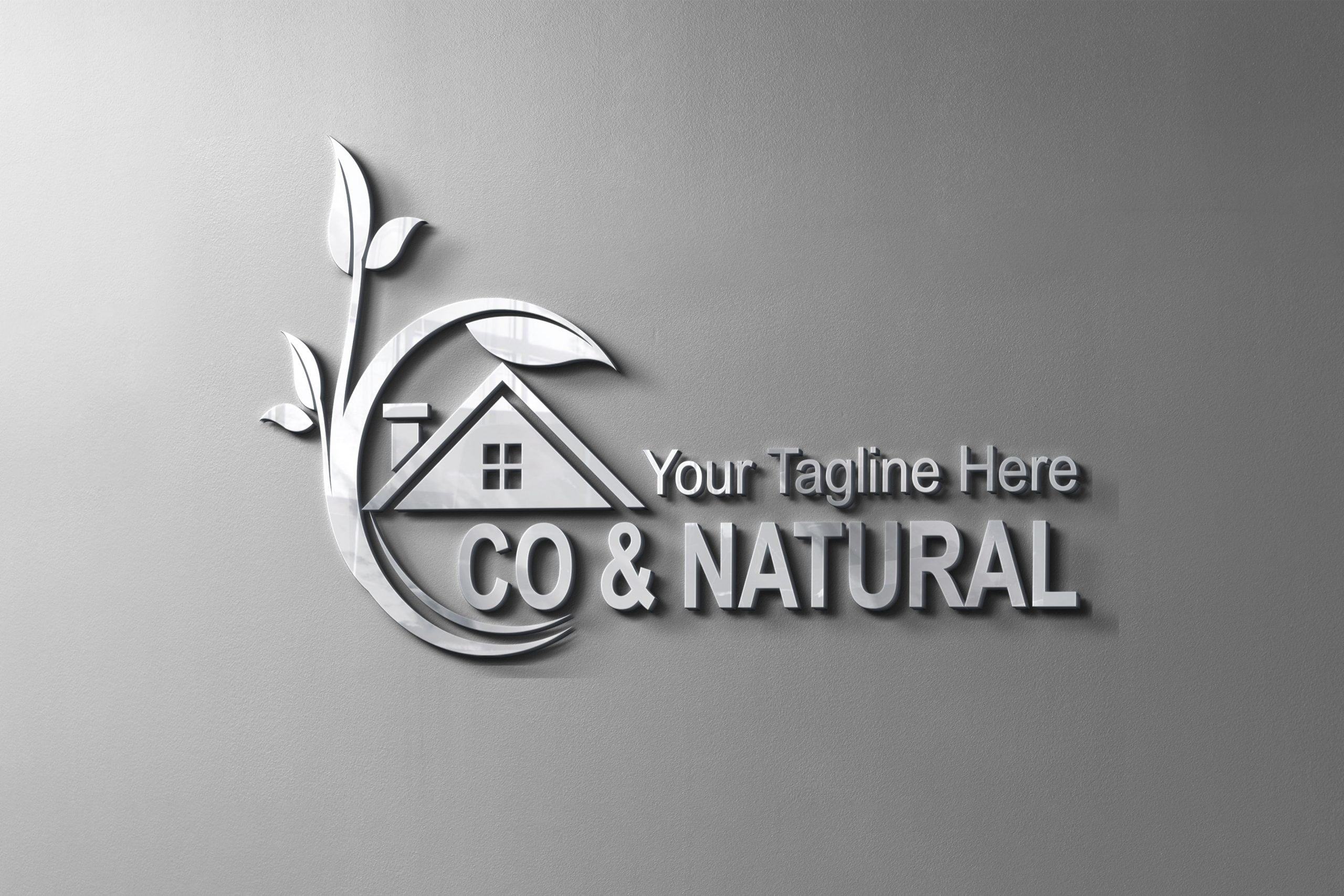 Eco & nature house logo design template on silver metal mockup