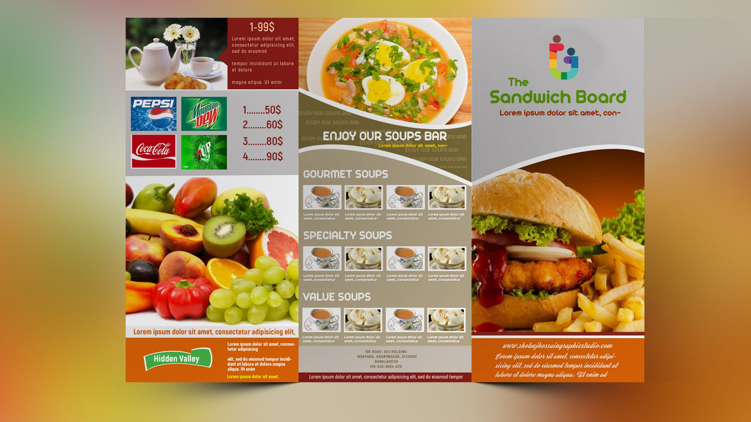 Fast food Restaurant Menu Tri Fold Brochure Design