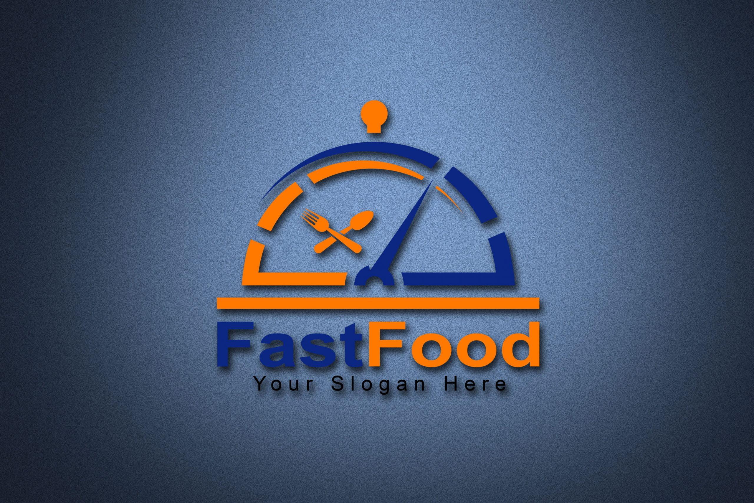 Fast food logo design Template 3d mockup