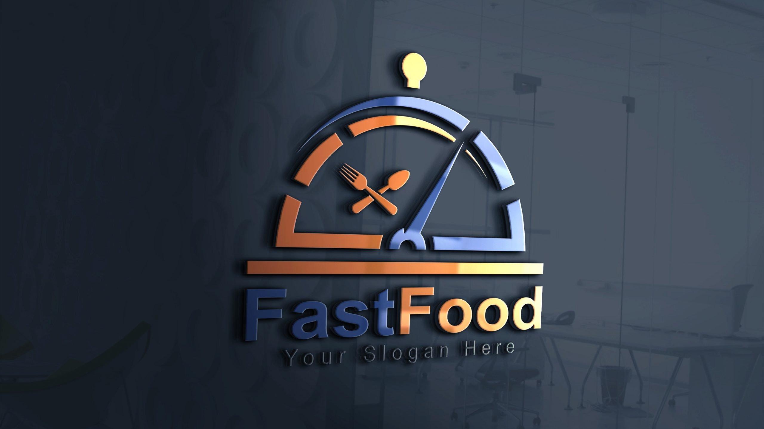 Fast food logo design photoshop file