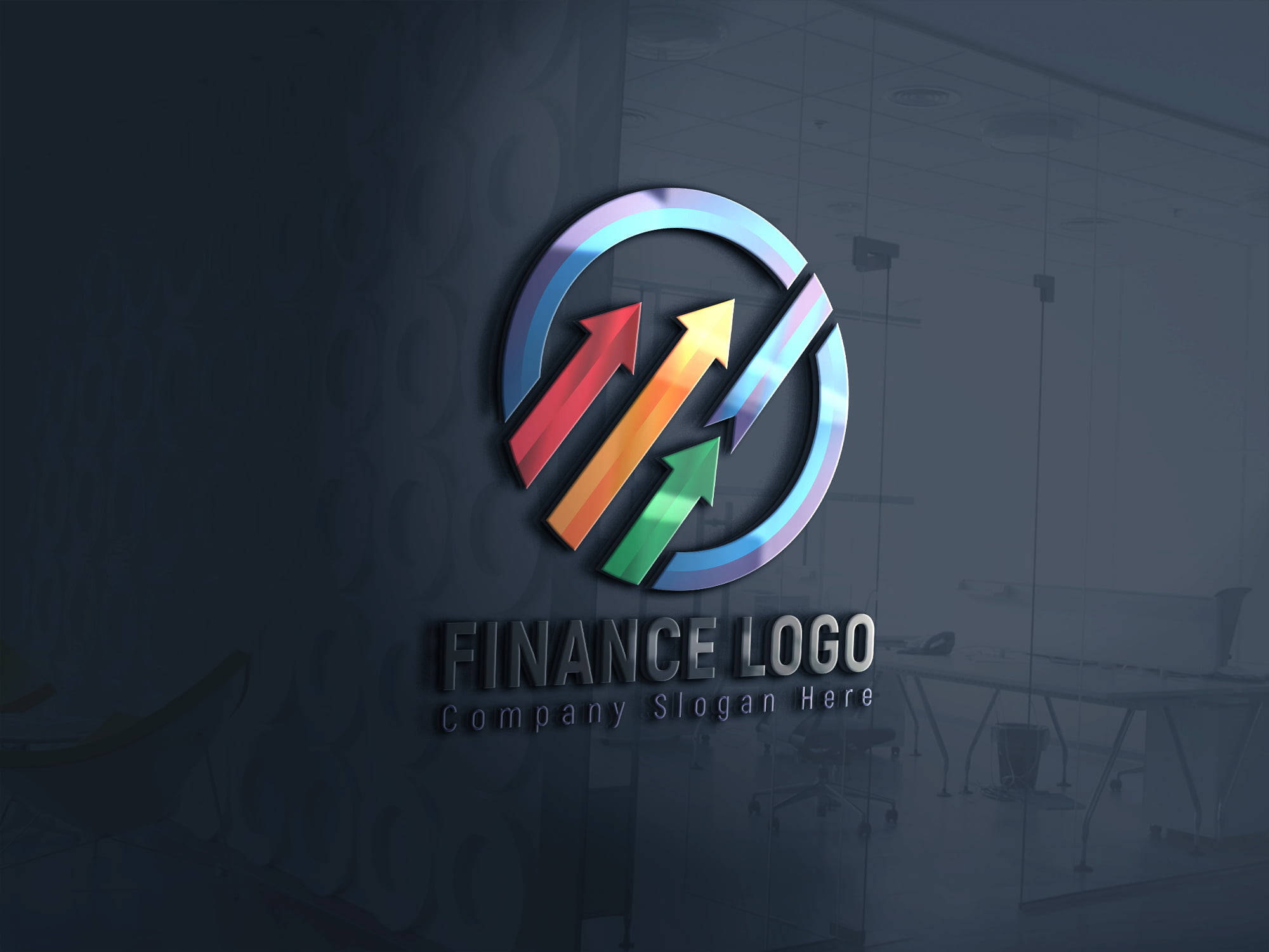 Finance Company Logo Design 3d glass window